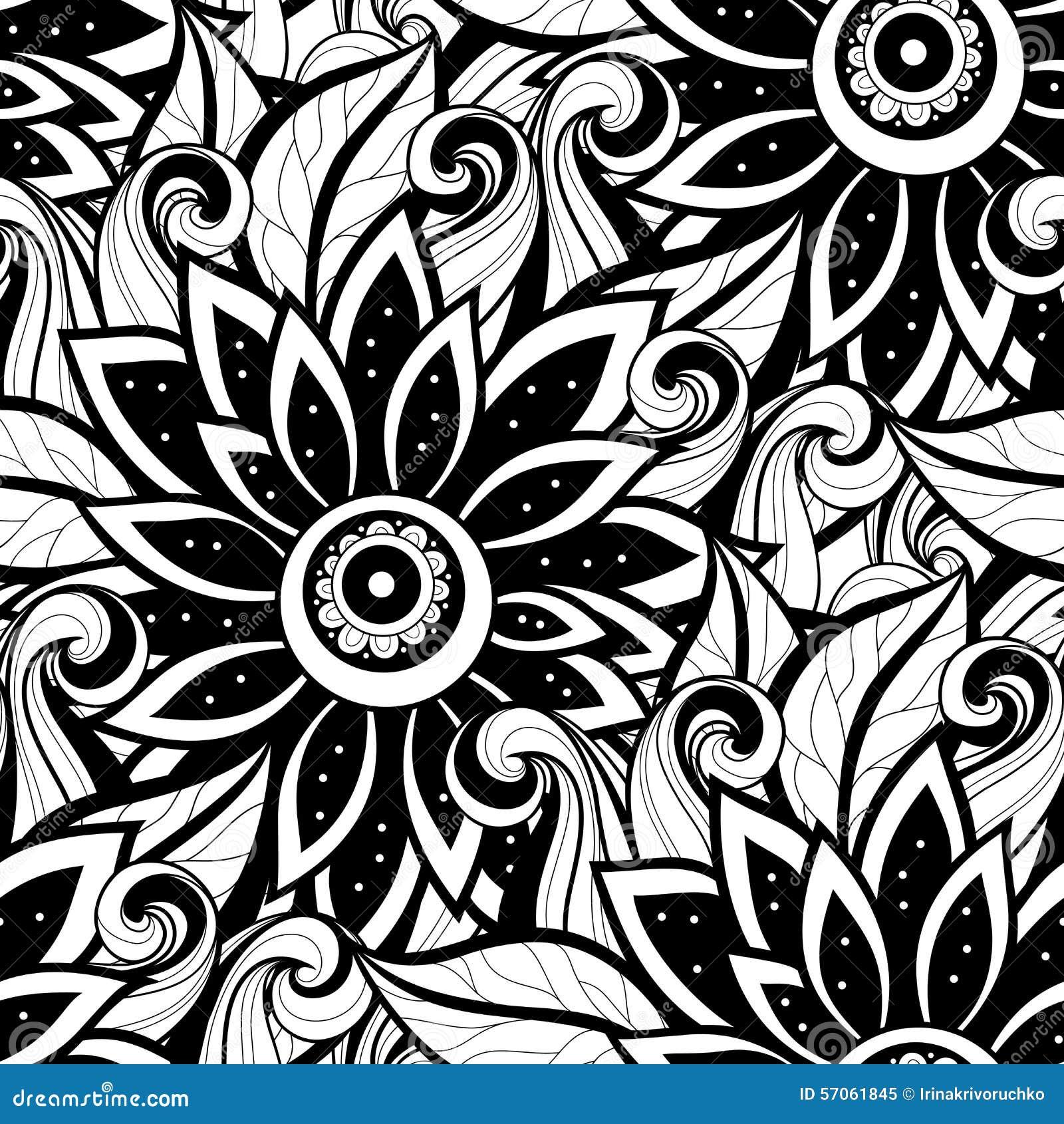 Vector Naadloos Zwart-wit Bloemenpatroon