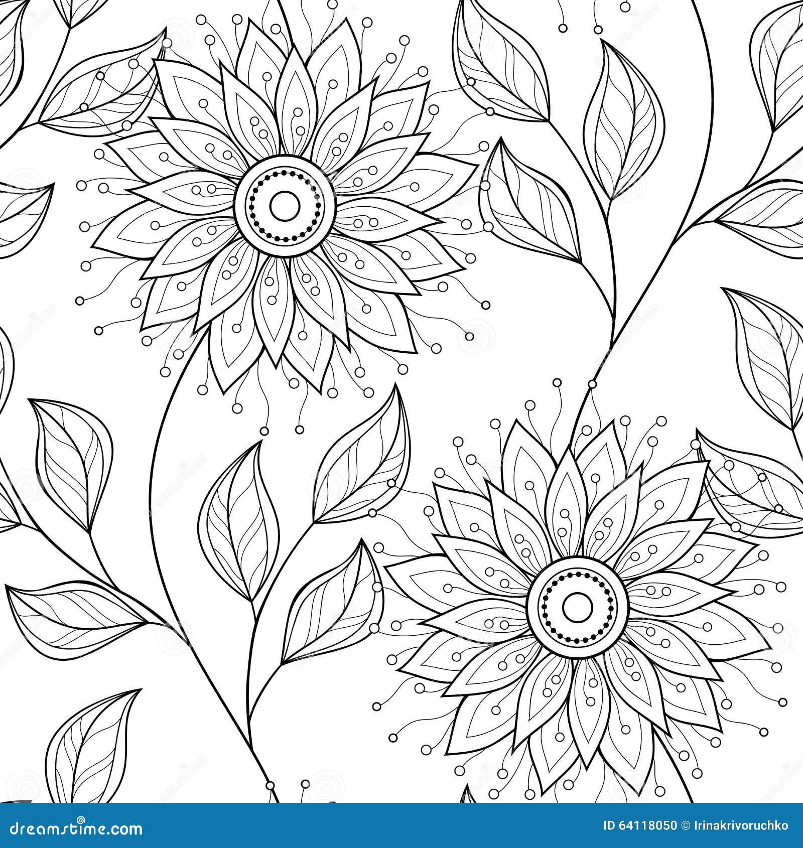 Vector naadloos zwart wit bloemenpatroon vector illustratie afbeelding 64118050 - Deco slaapkamer ontwerp volwassen ...