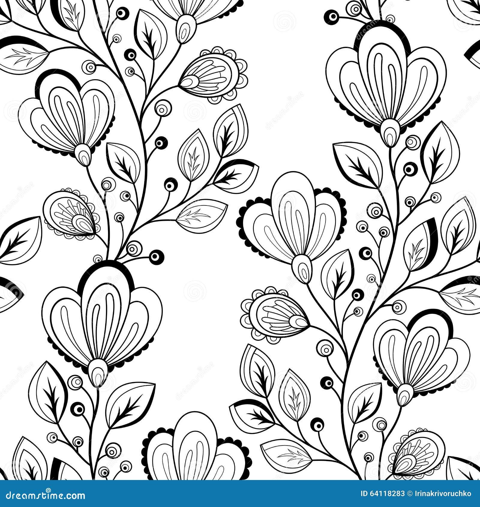 Vector naadloos zwart wit bloemenpatroon vector illustratie afbeelding 64118283 - Deco slaapkamer ontwerp volwassen ...