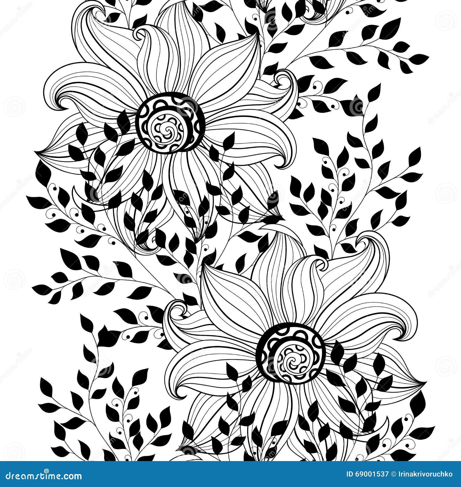 Vector naadloos zwart wit bloemenpatroon vector illustratie afbeelding 69001537 - Deco slaapkamer ontwerp volwassen ...