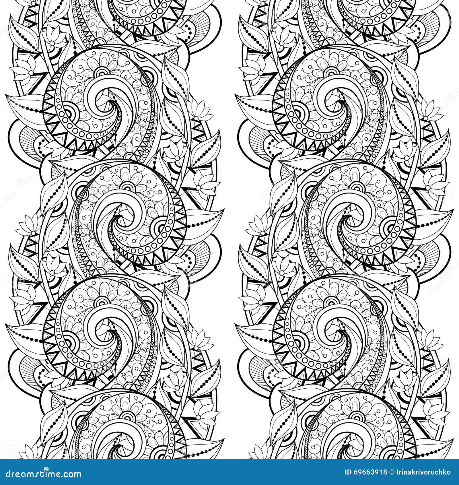 Vector naadloos zwart wit bloemenpatroon vector illustratie afbeelding 69663918 - Deco slaapkamer ontwerp volwassen ...