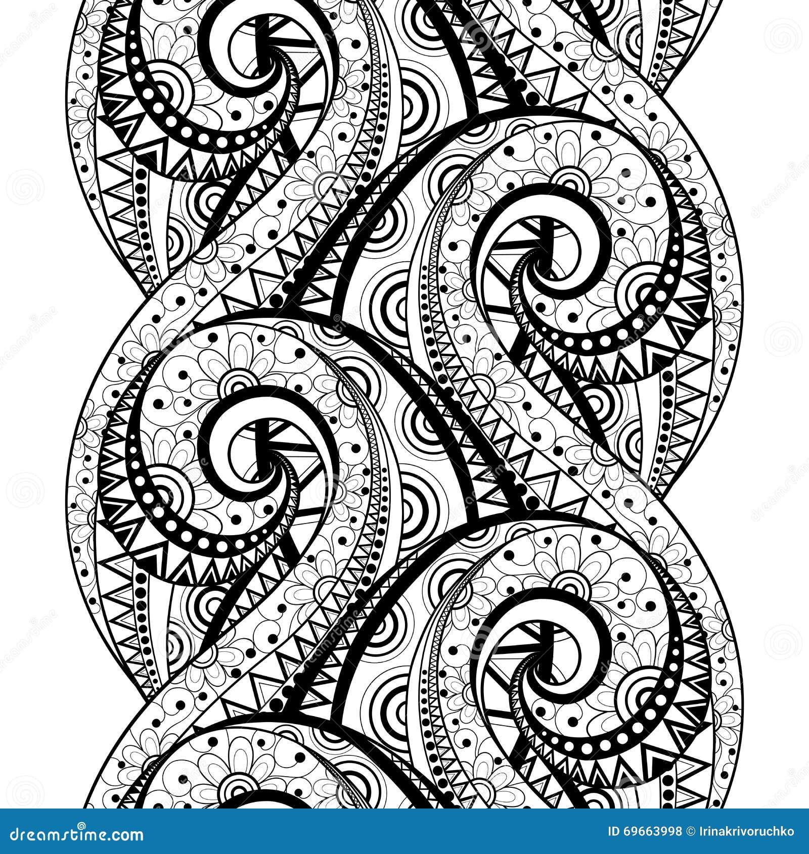 Vector naadloos zwart wit bloemenpatroon vector illustratie afbeelding 69663998 - Deco slaapkamer ontwerp volwassen ...
