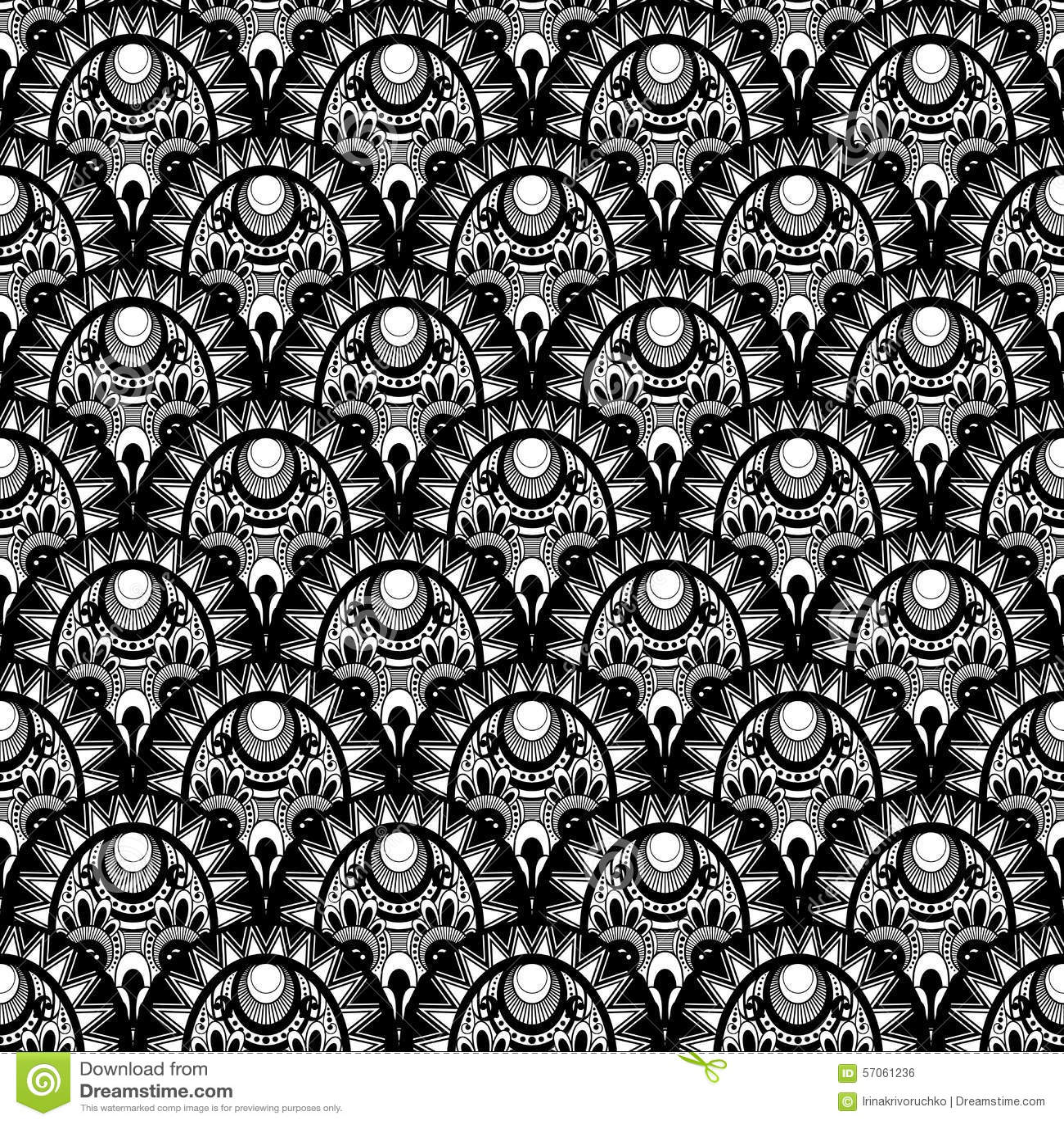 Vector Naadloos Zwart-wit Damastpatroon