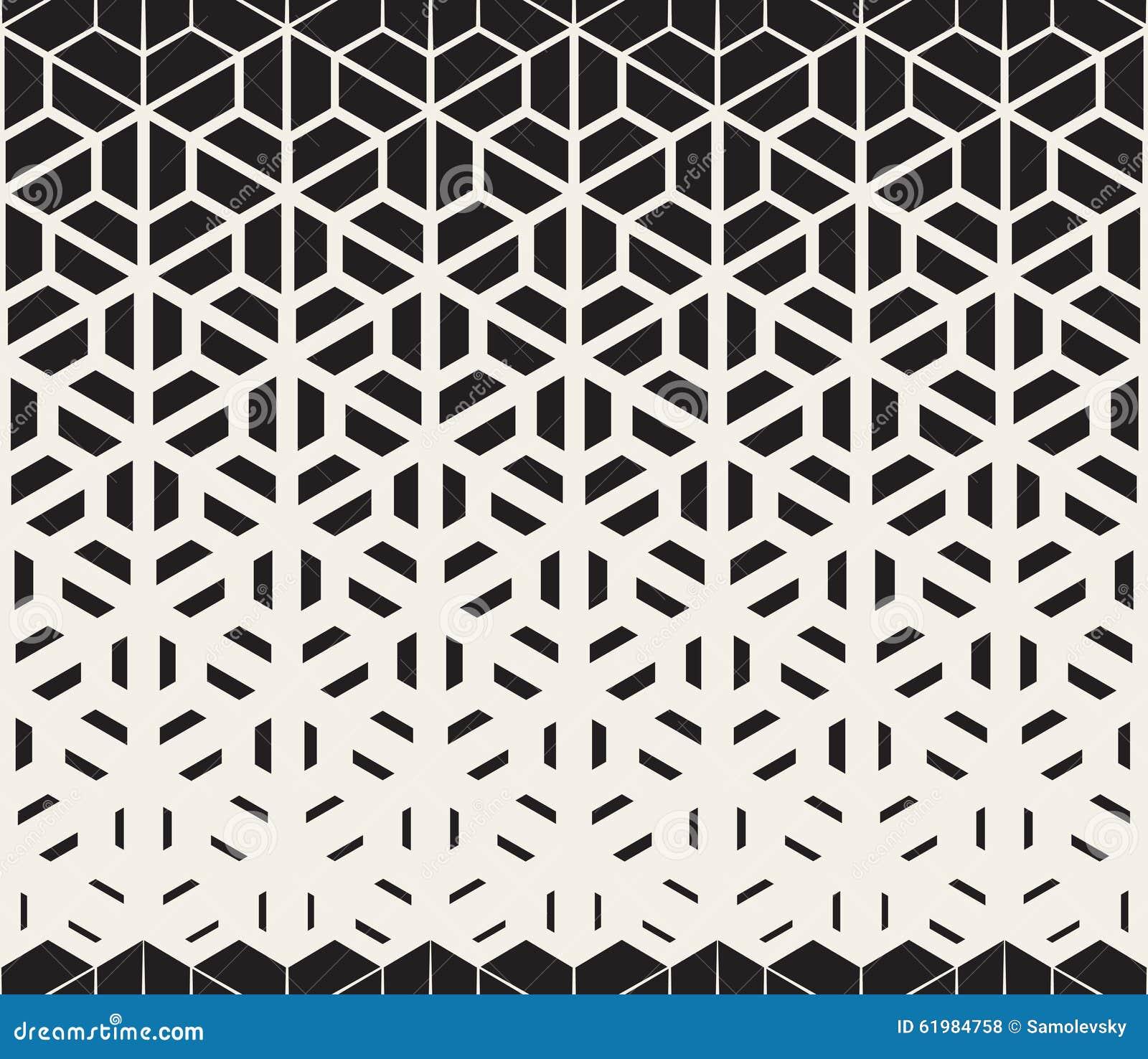 Vector Naadloos Zwart-wit Hexagon Halftone de Gradiëntpatroon van Driehoeks Gespleten Lijnen