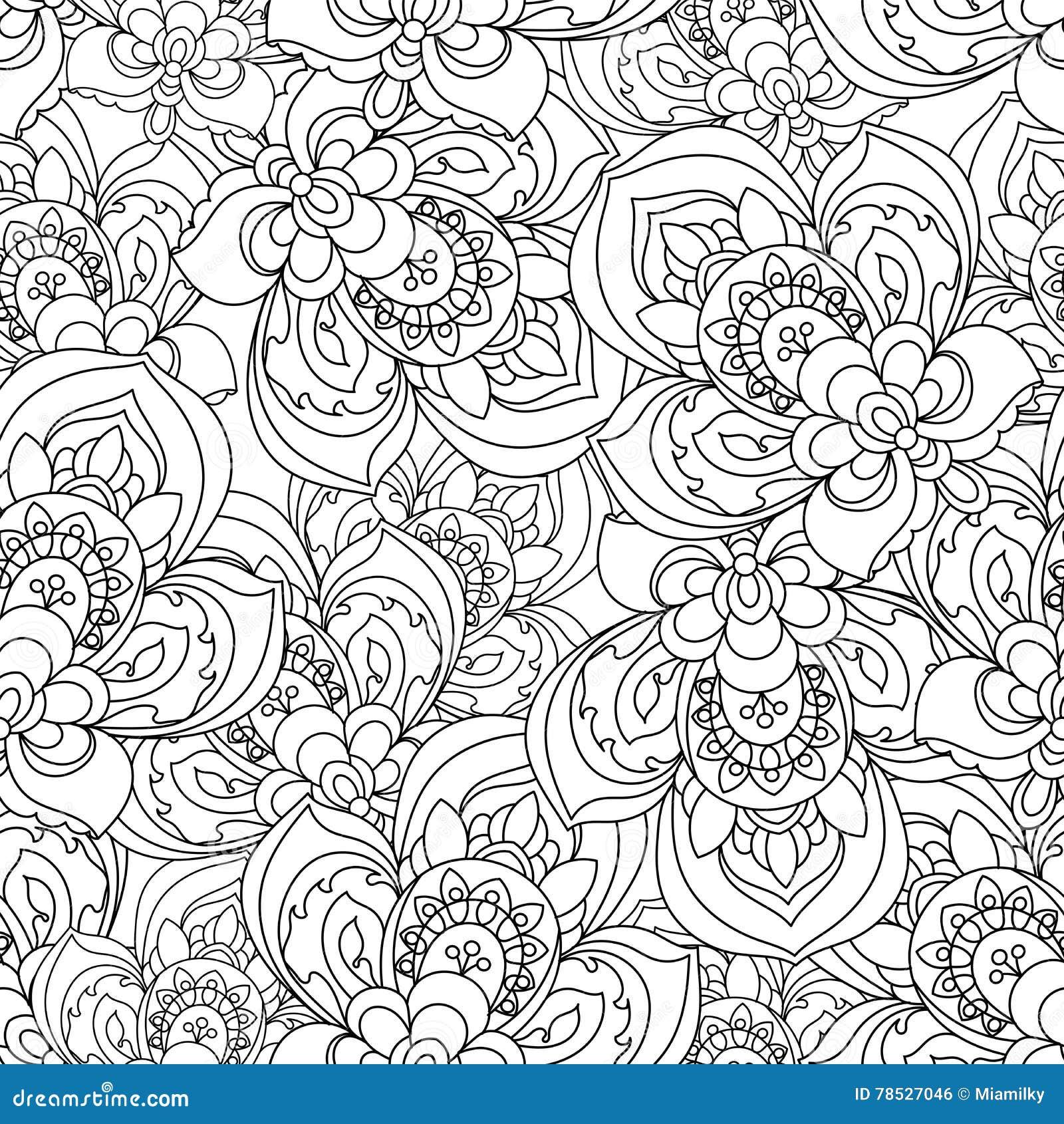 Vector Naadloos Zwart-wit Overladen Patroon voor het kleuren van boek Hand Getrokken Mandala Texture, Uitstekende Indische Stijl