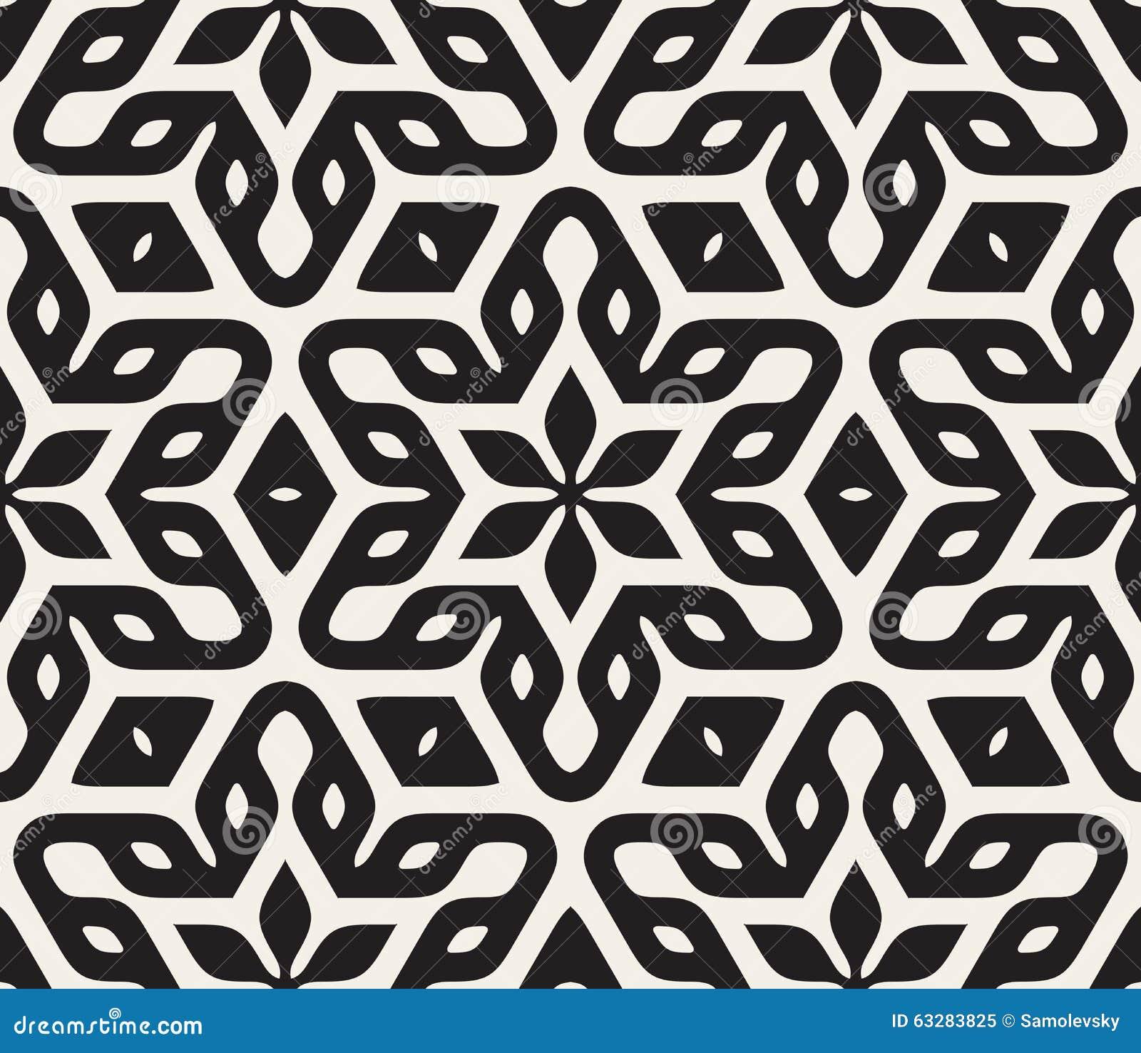 Vector naadloos zwart wit rond gemaakt bloemenster oosters hexagonaal patroon stock illustratie - Oosters stof ...