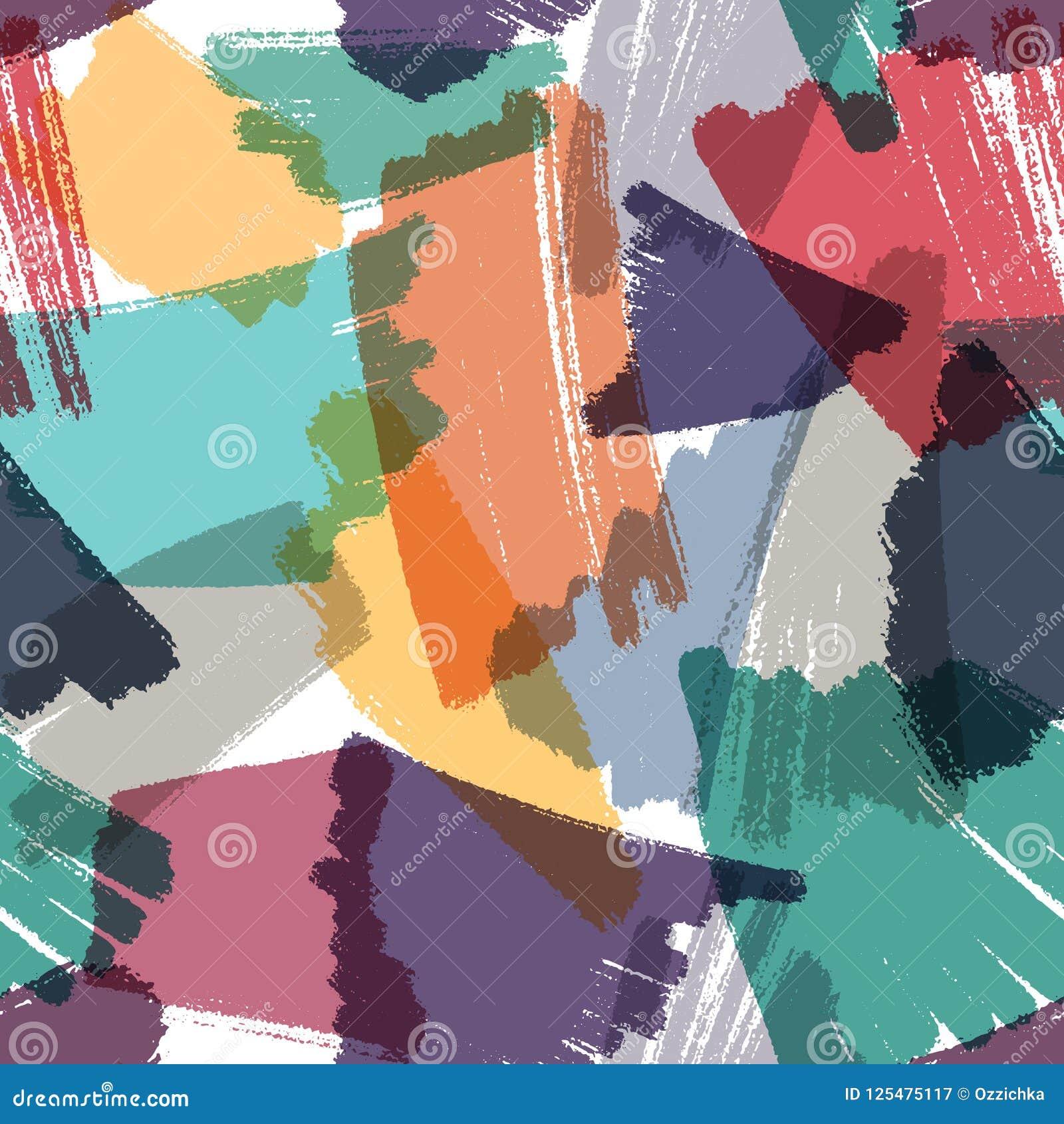 Vector naadloze achtergrond Artistiek multikleuren herhaalbaar patroon Textuur van tellers de hand getrokken slagen met transpara