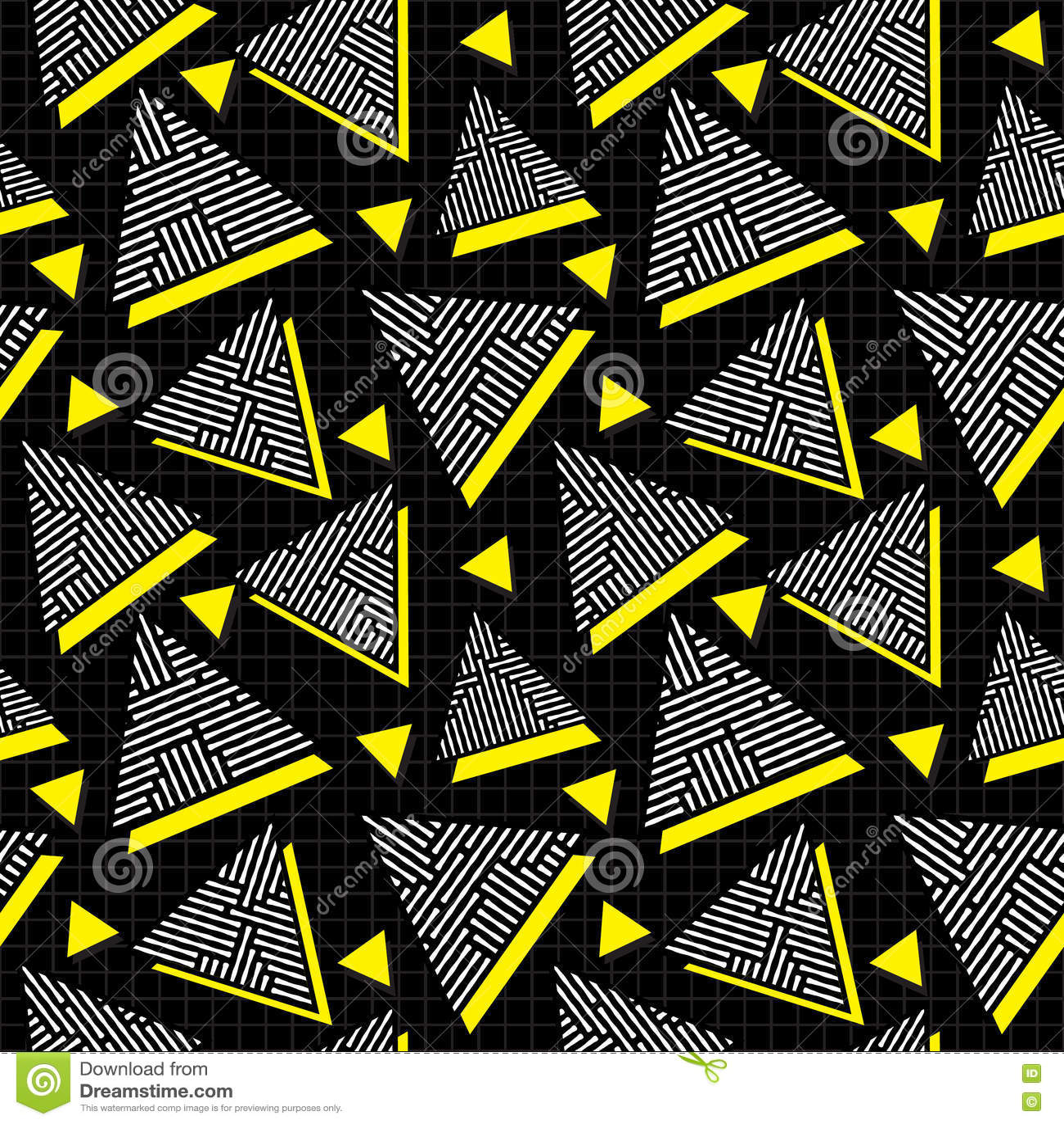 Vector nahtlose schwarze weiße gelbe Weinleseachtziger jahre Dreieck-Durcheinander-Linie Muster auf quadratischem Gitter