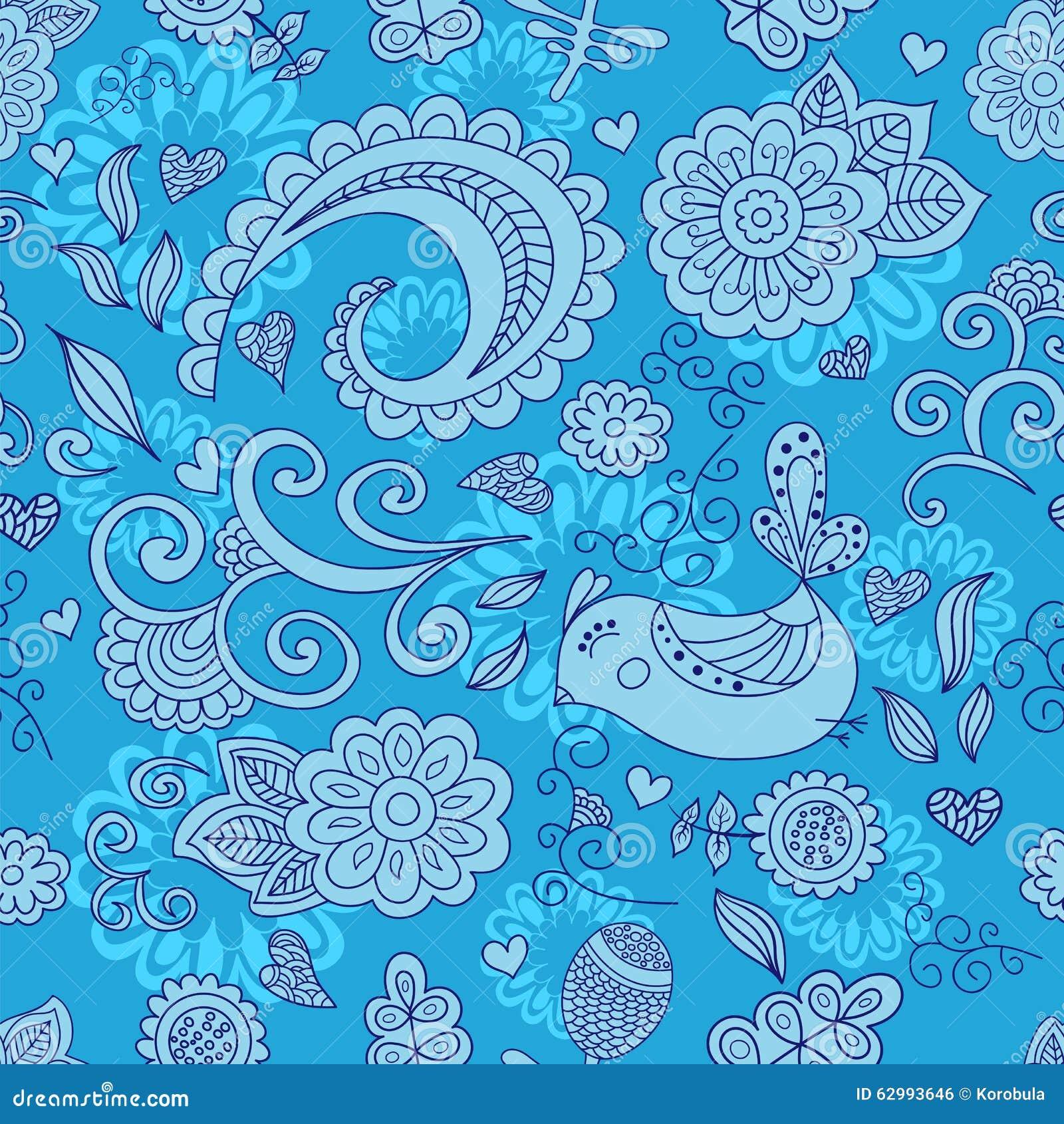 Vector nahtloses Blumenmuster und einen netten Vogel blau