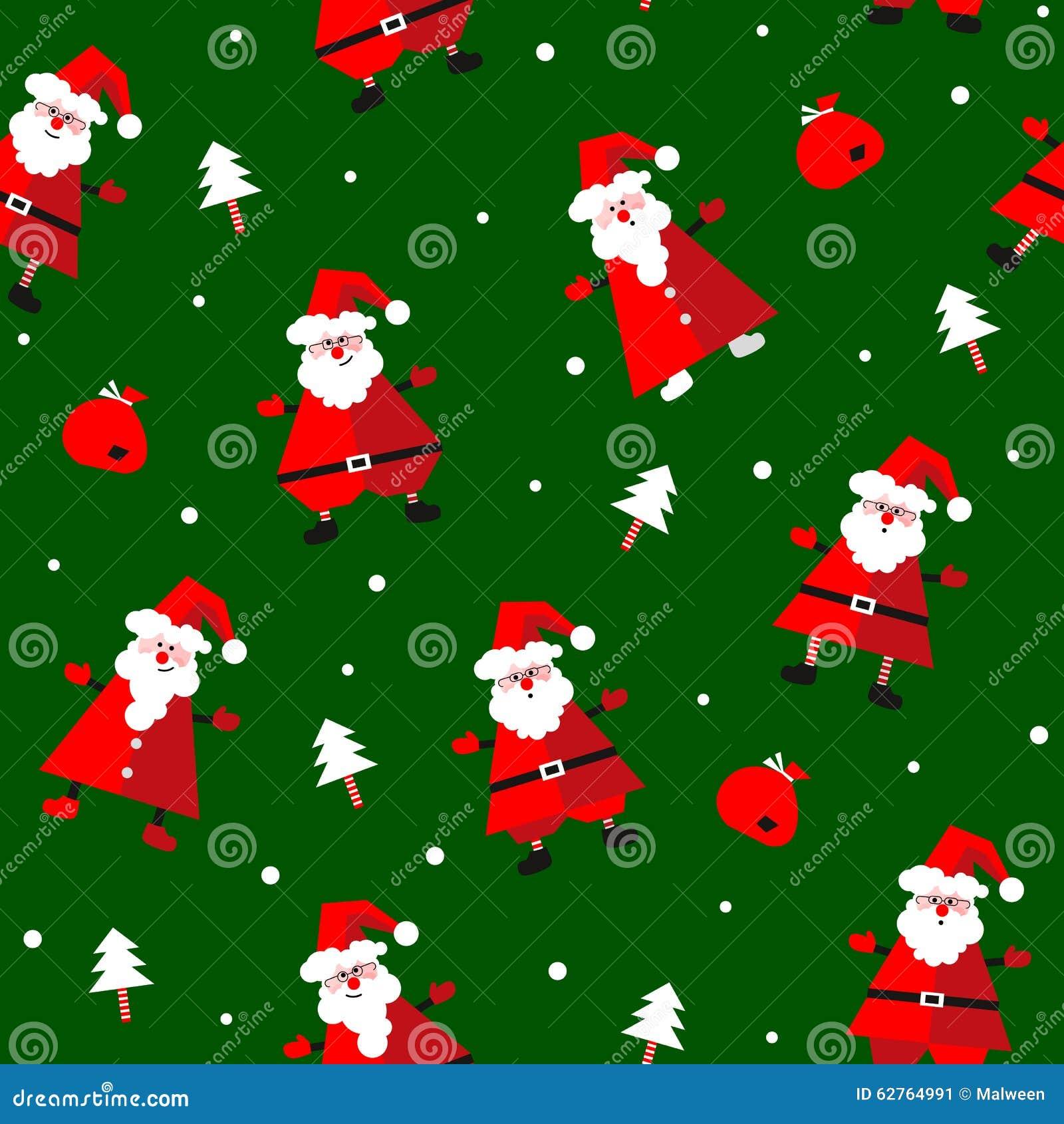 Tannenbaum Muster.Vector Nahtloses Muster Mit Lustigem Weihnachtsmann Geschenken Und
