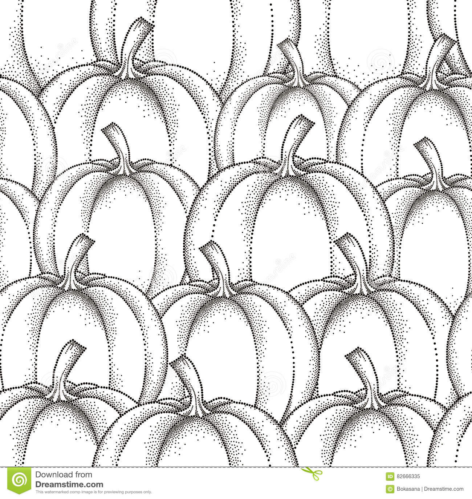 Vector nahtloses Muster mit punktiertem Kürbis oder Kürbis im Schwarzen auf dem weißen Hintergrund Trägt Elemente in dotwork Art
