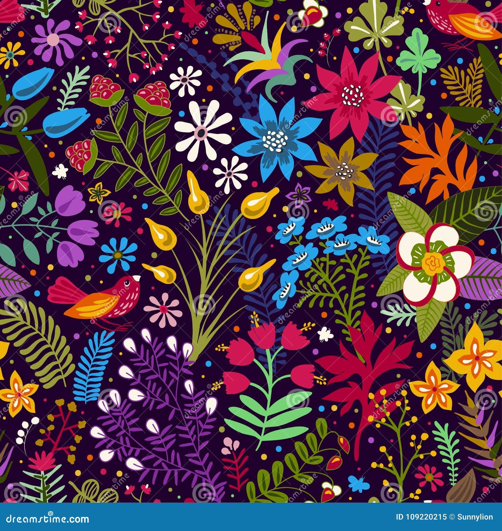 Vector Nahtloses Muster Mit Stilisierten Blumen Und Anlagen Helle