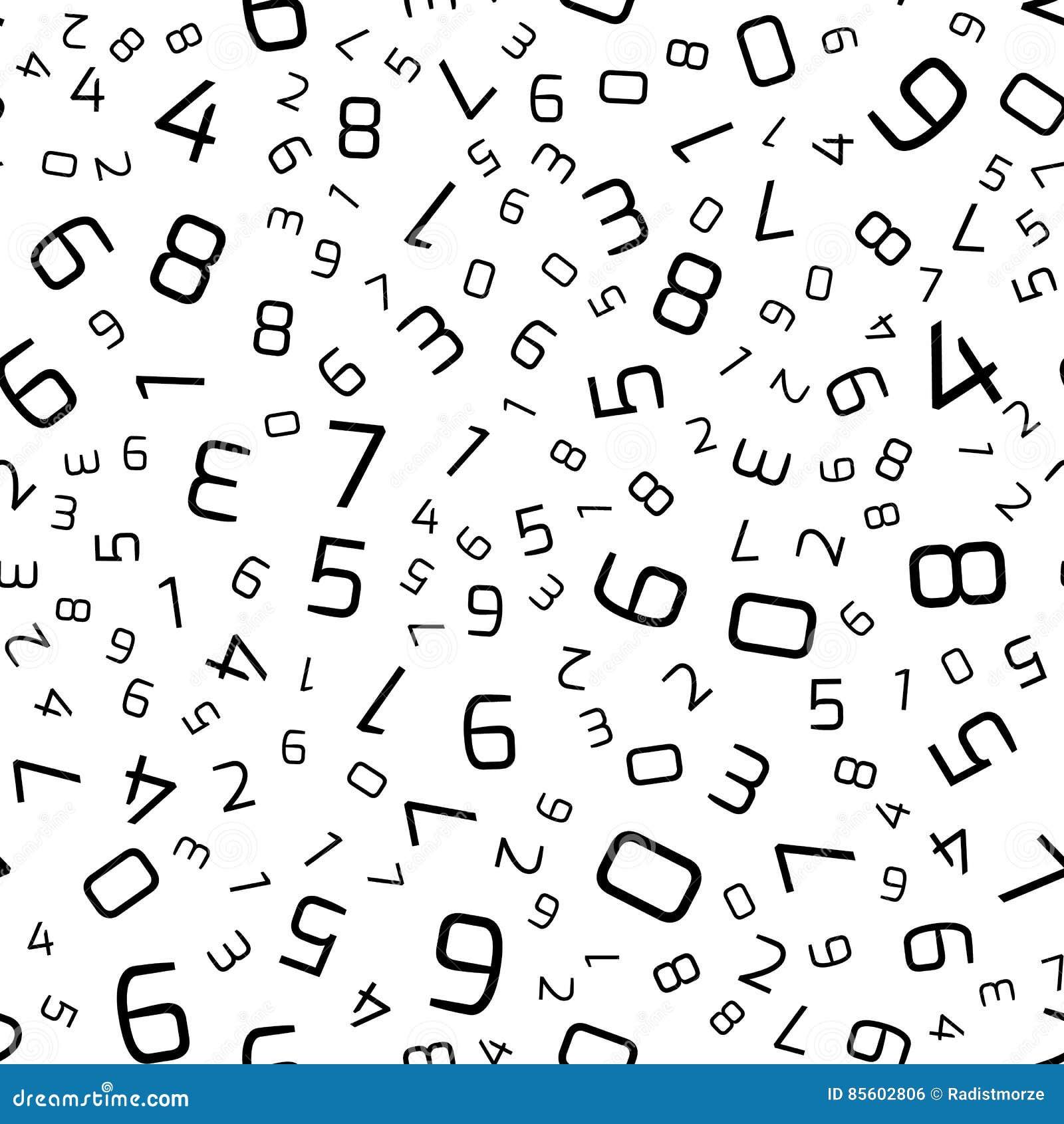Vector Nahtloses Muster Mit Zahlen In Der Gelegentlichen Bestellung