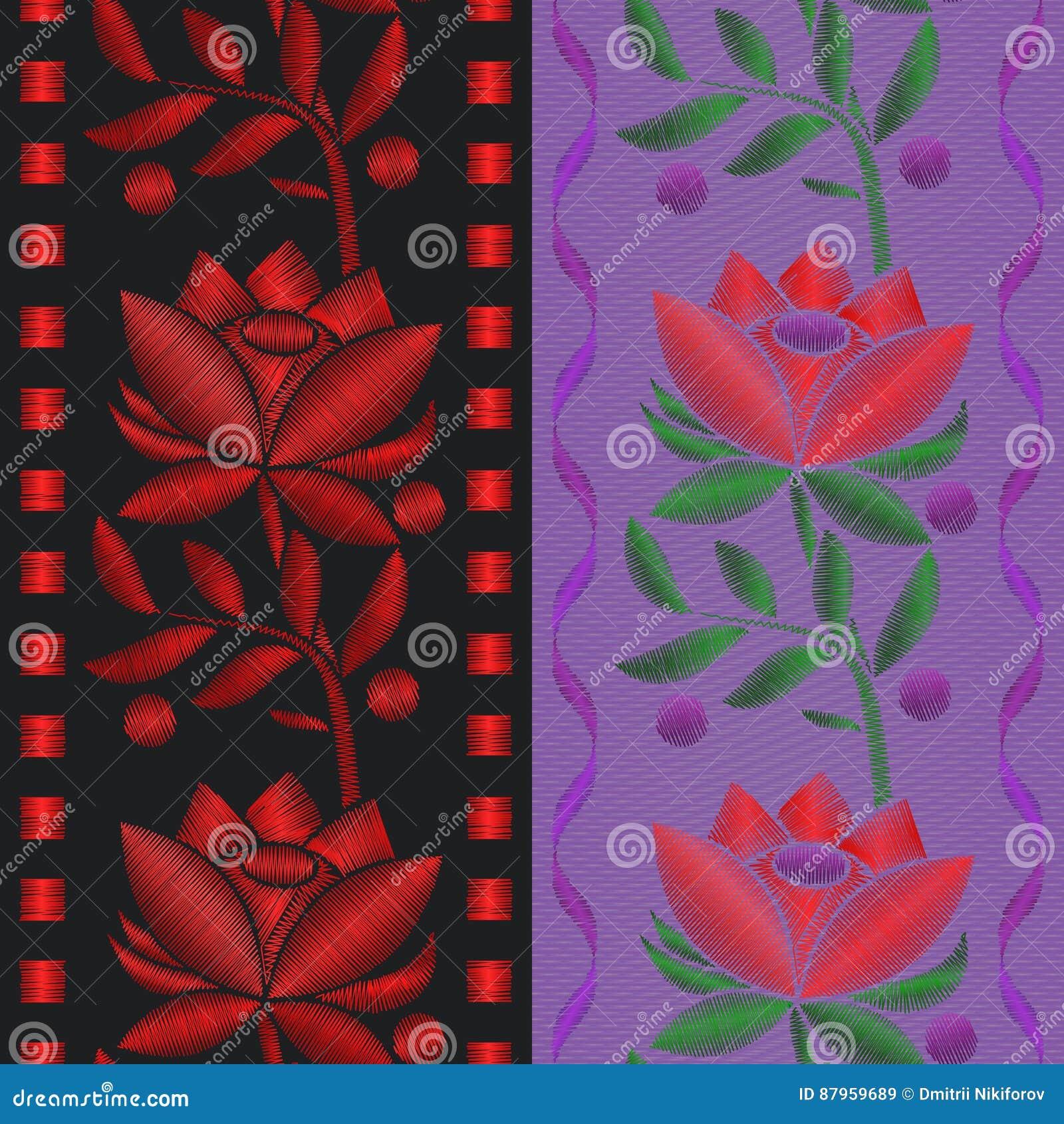 Vector nahtloses Musterband der Illustrationen mit roter Blumenrosenstickerei auf Textilhintergrund