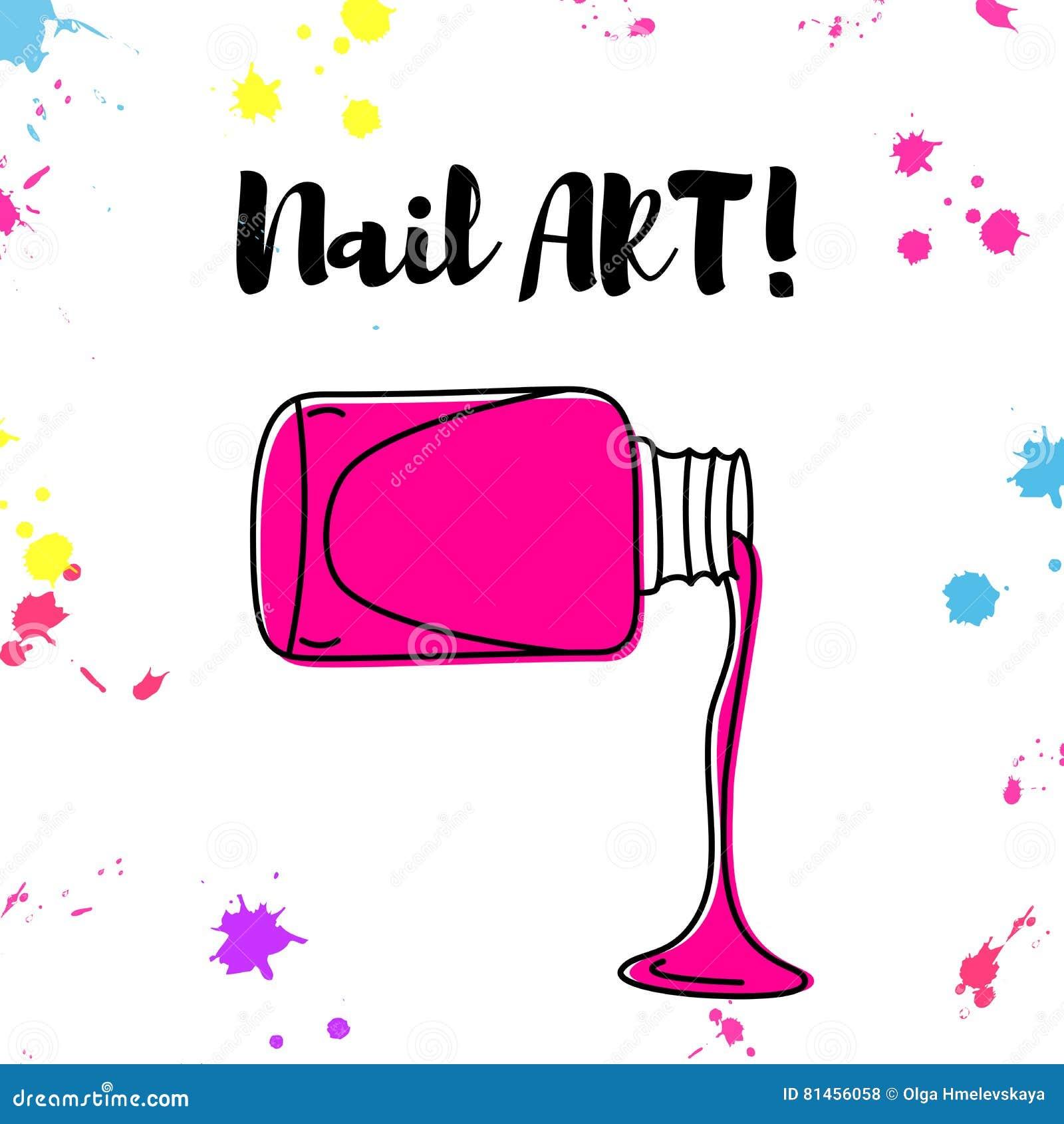 Nail Art Vector: Vector Nail Polish Spill Hand Drawn Poster Stock