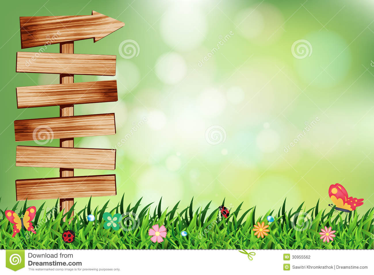Vector natural green background with wood signboar stock vector image 30955562 - Photo image design ...