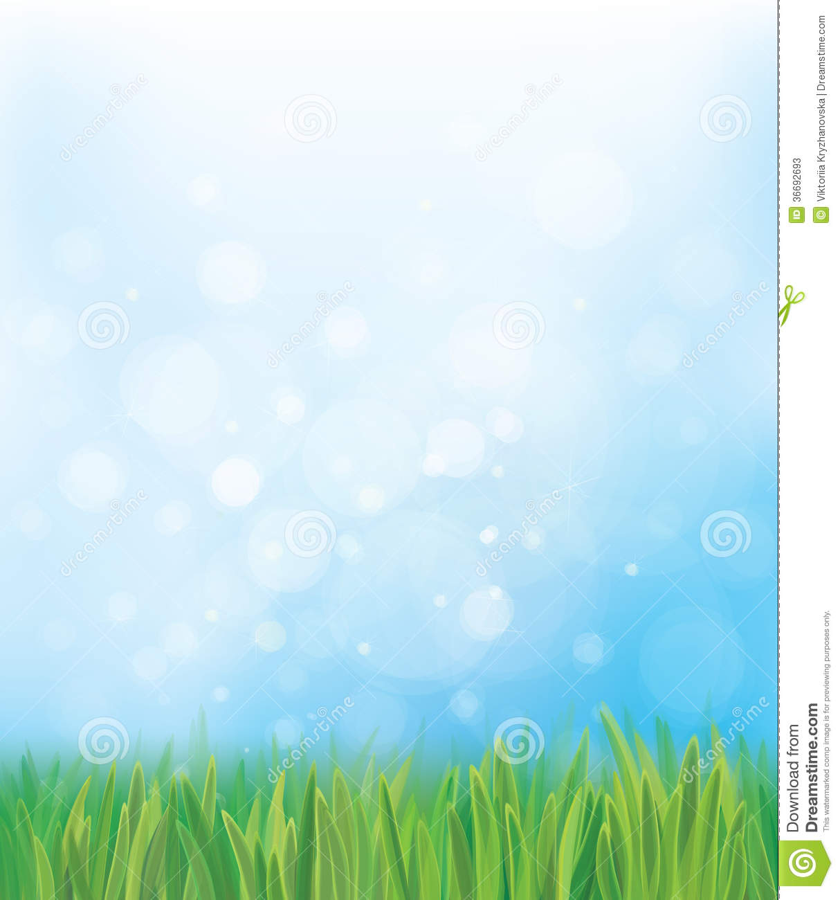 Vector Nature Background Blue Sky And Green Grass Stock ...
