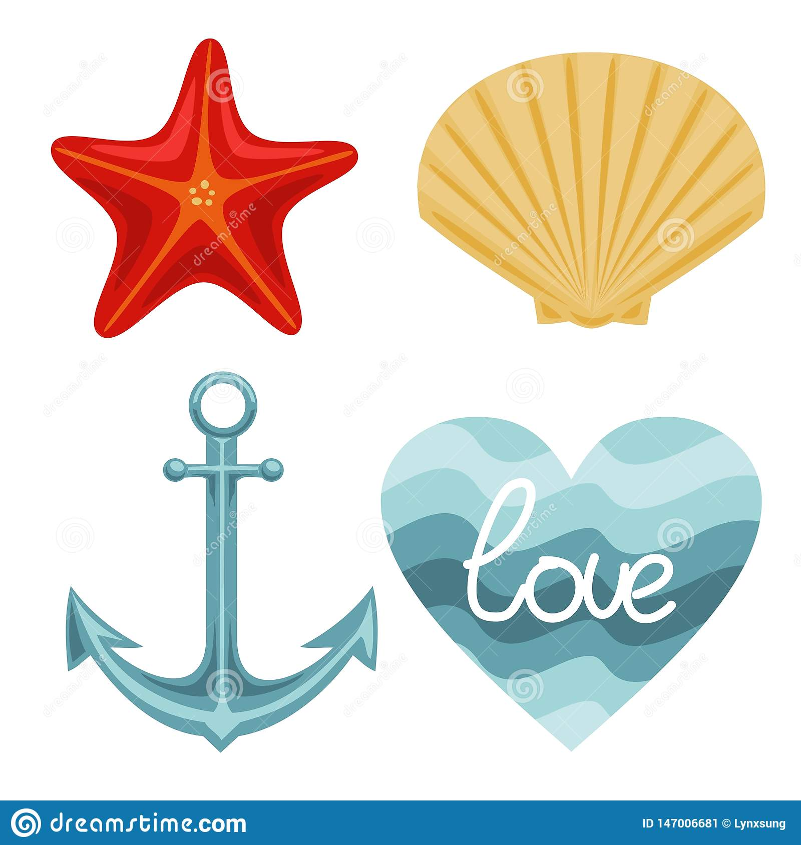 Vector nature set of starfish shell anchor and wavy background. Vector drawing