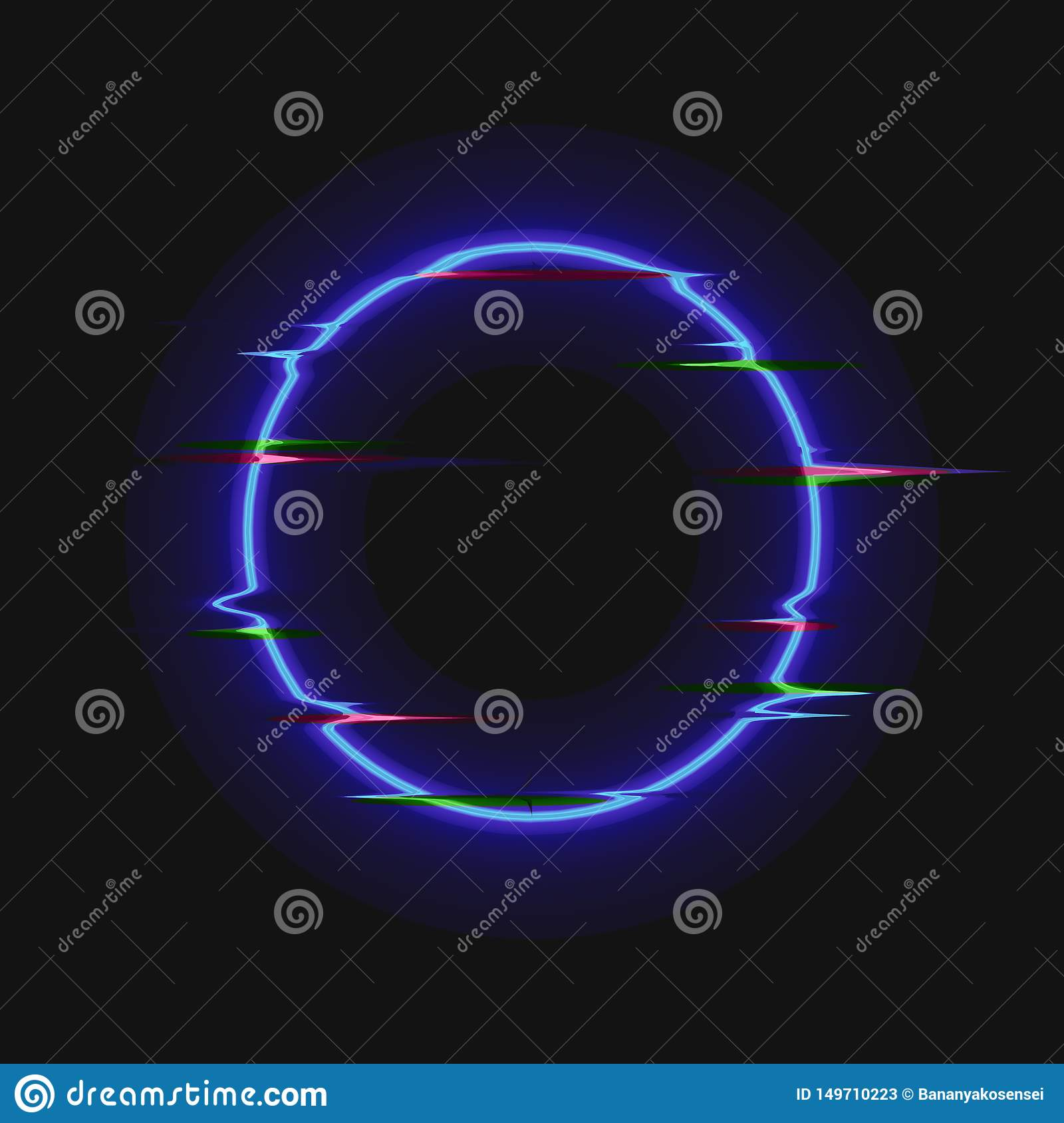 Vector Neon Blue Circle with Glitch Effect, Colorful Blank Frame Isolated, Shining Illustration Template.