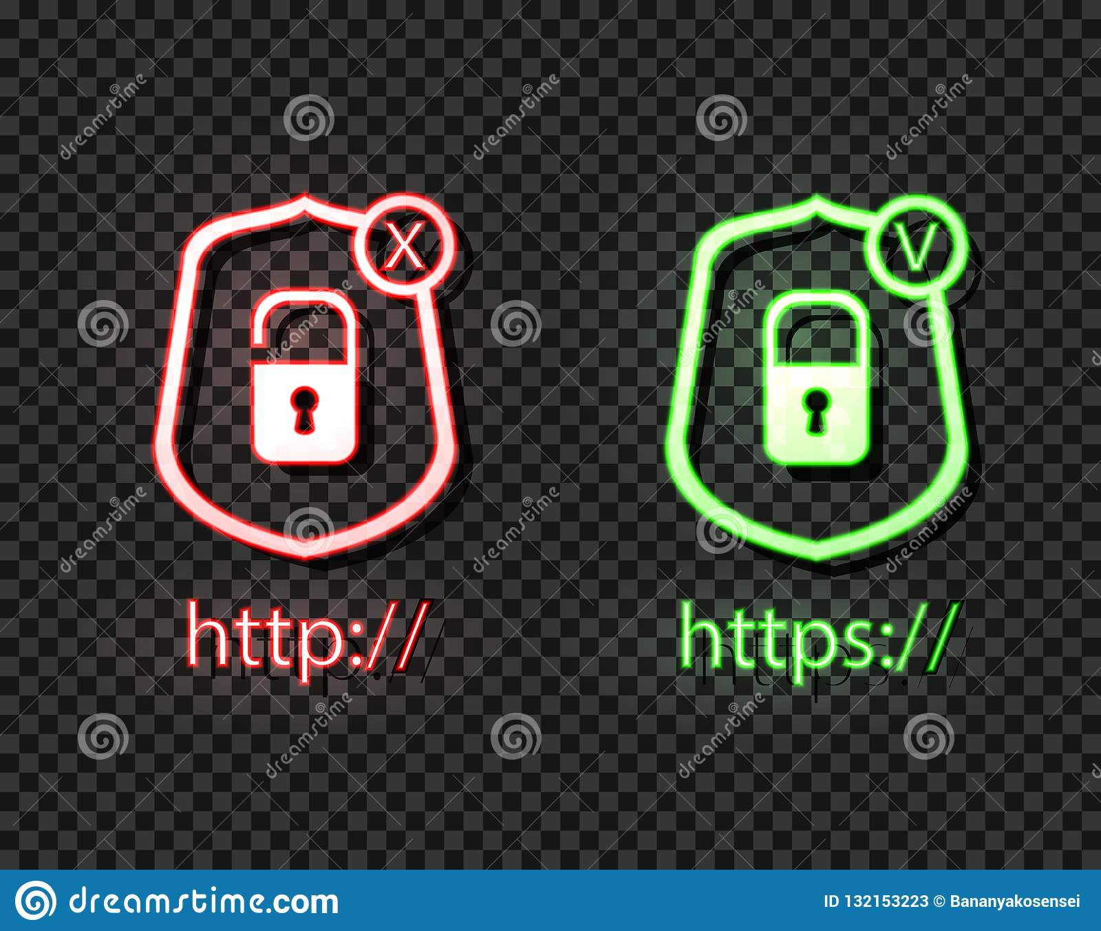 Vector Neon Icons: http and https Protocols with Lock, Green and Red Bright Symbols, Check and Cross.