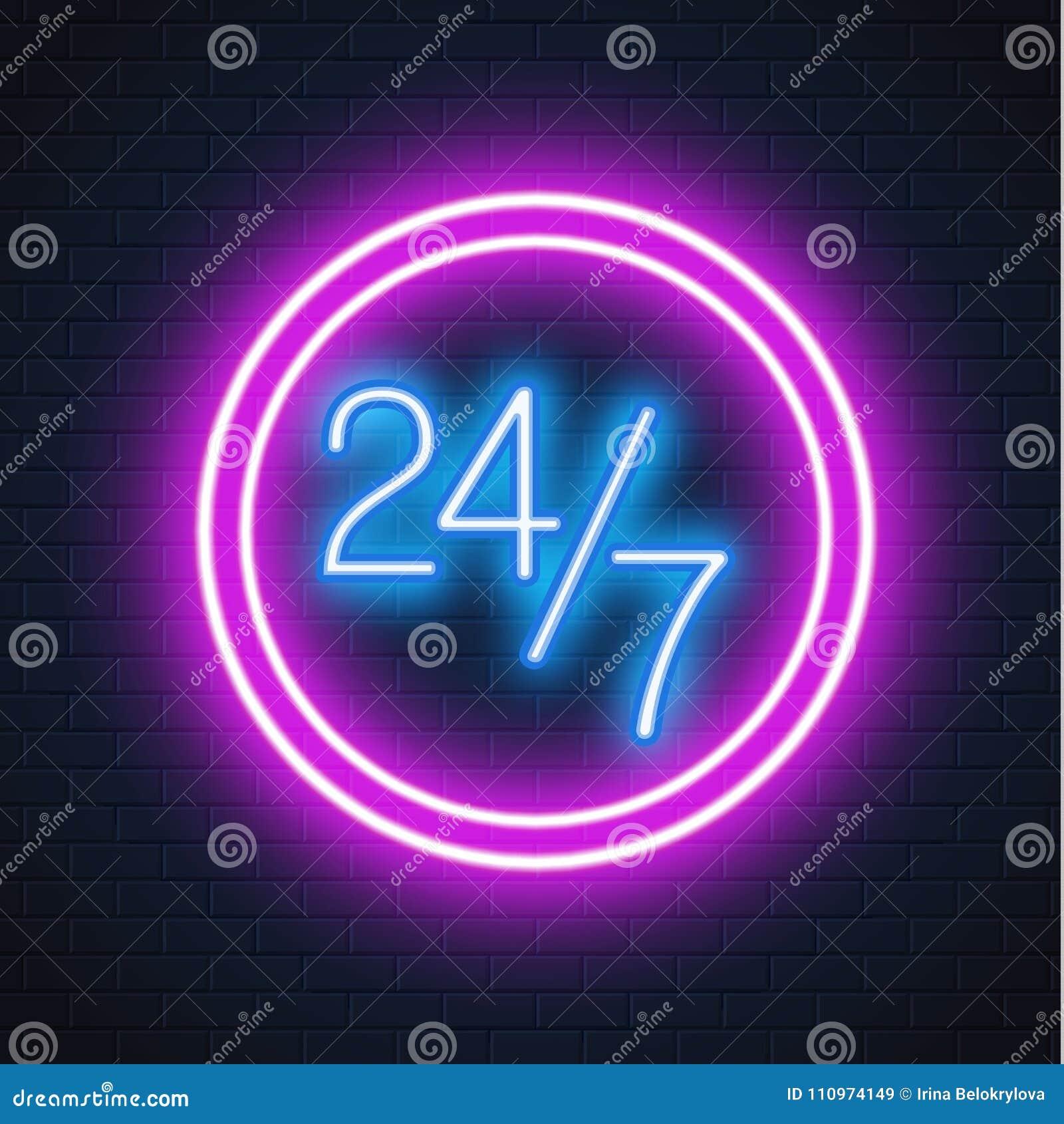 Vector neon 24 7 open sign brick wall