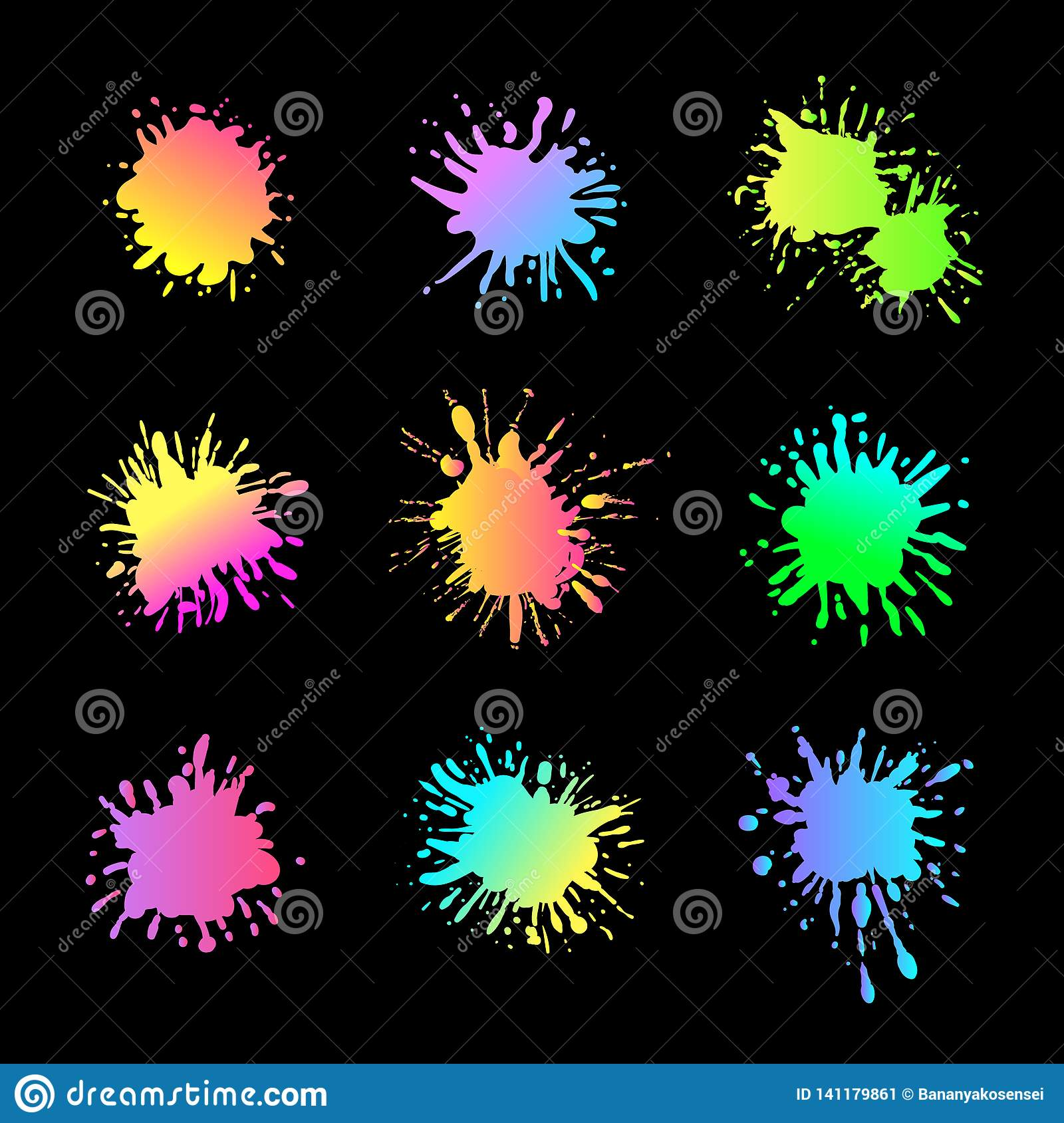 Vector Neon Paint Splashes Isolated on Black Background, Creative Design Elements Set.