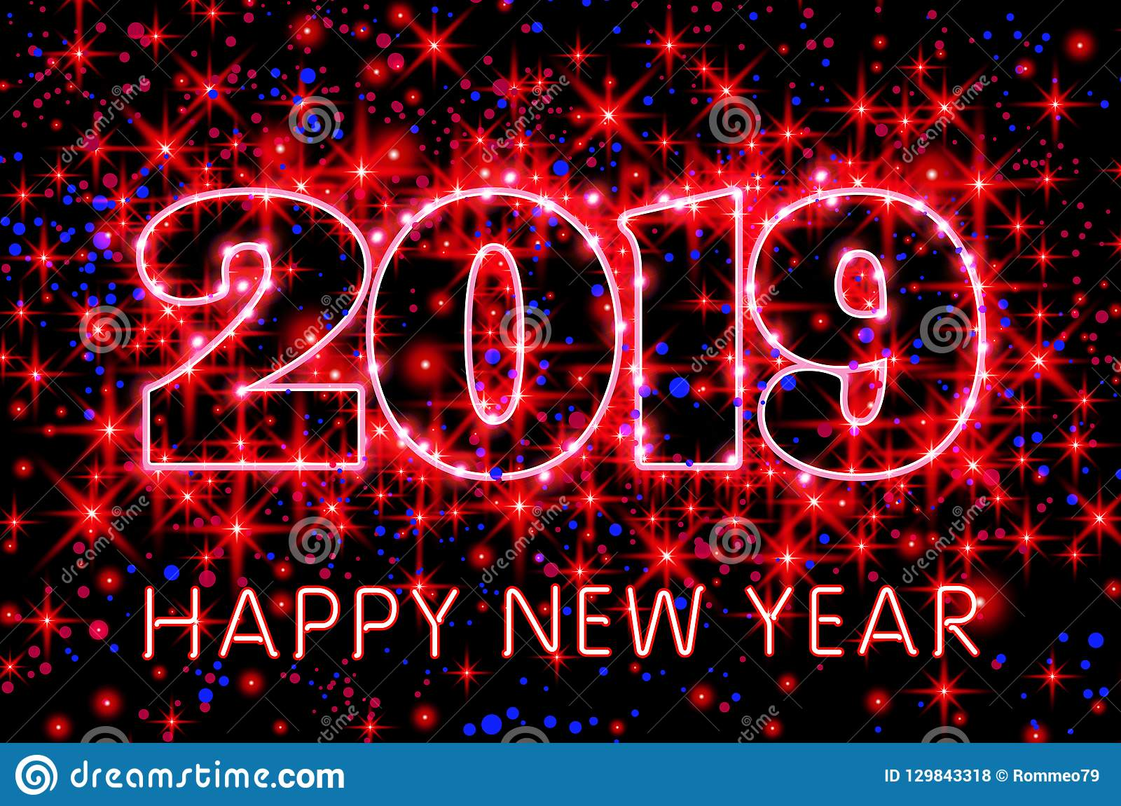 vector neon red typography happy new year 2019 in starry sky purple background illustration