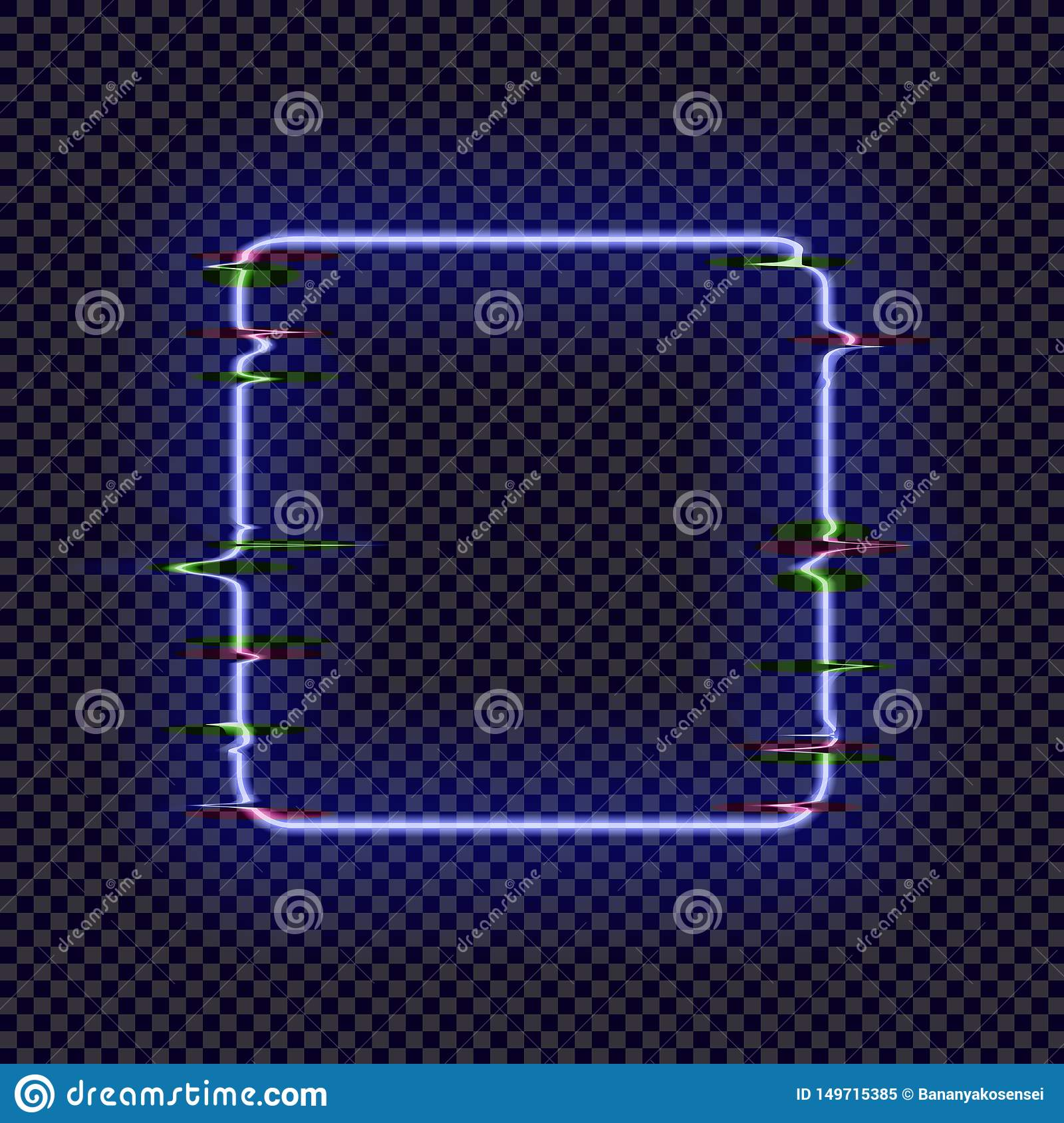 Vector Neon Square Frame with Glitch Effect Isolated on Dark Transparent Background, Bright Light, Abstract Illustration.