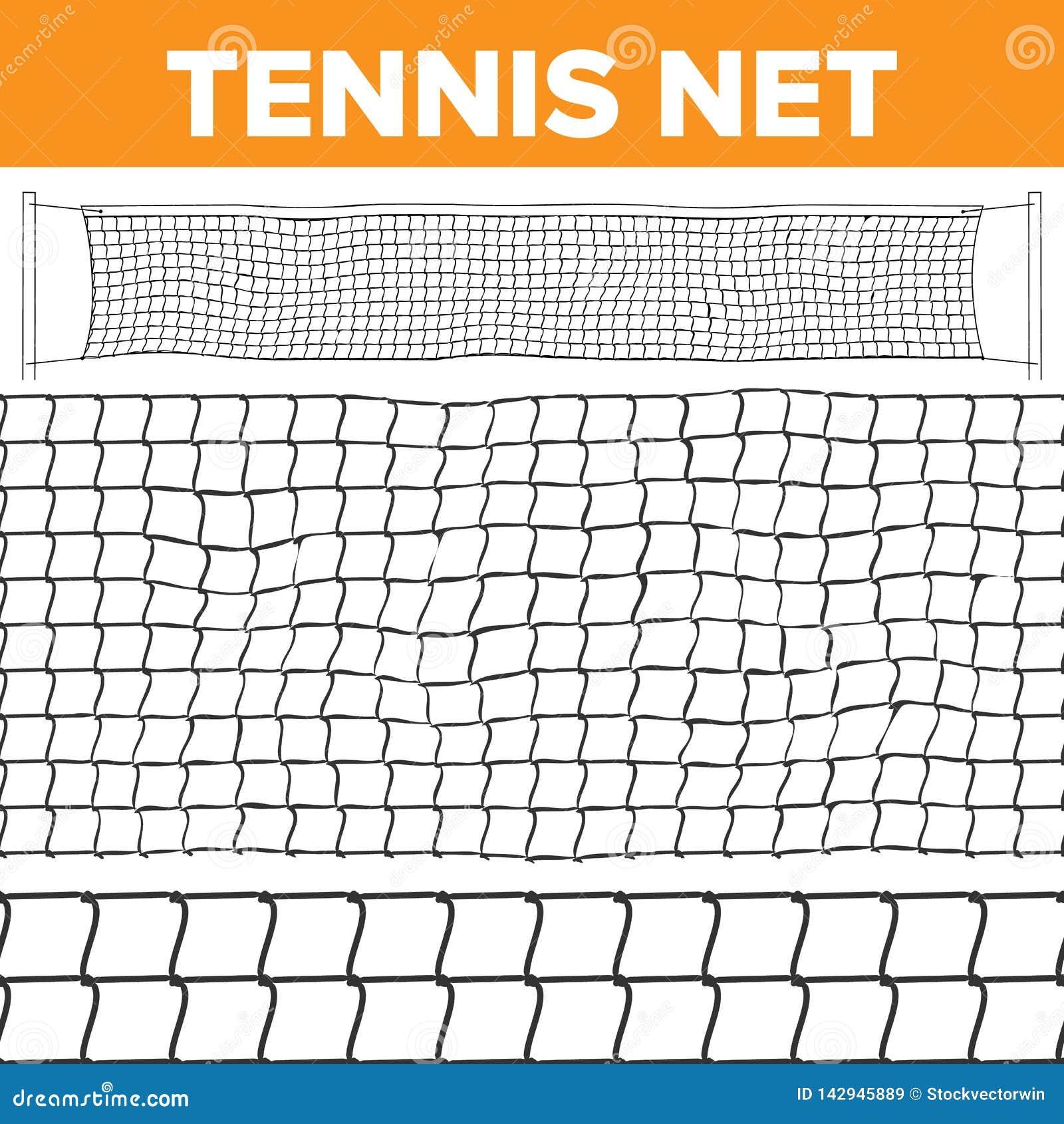 Vector neto del modelo del tenis Textura del voleibol La red de la corte aisló Inconsútil horizontal Trampa de la cuerda Juego de