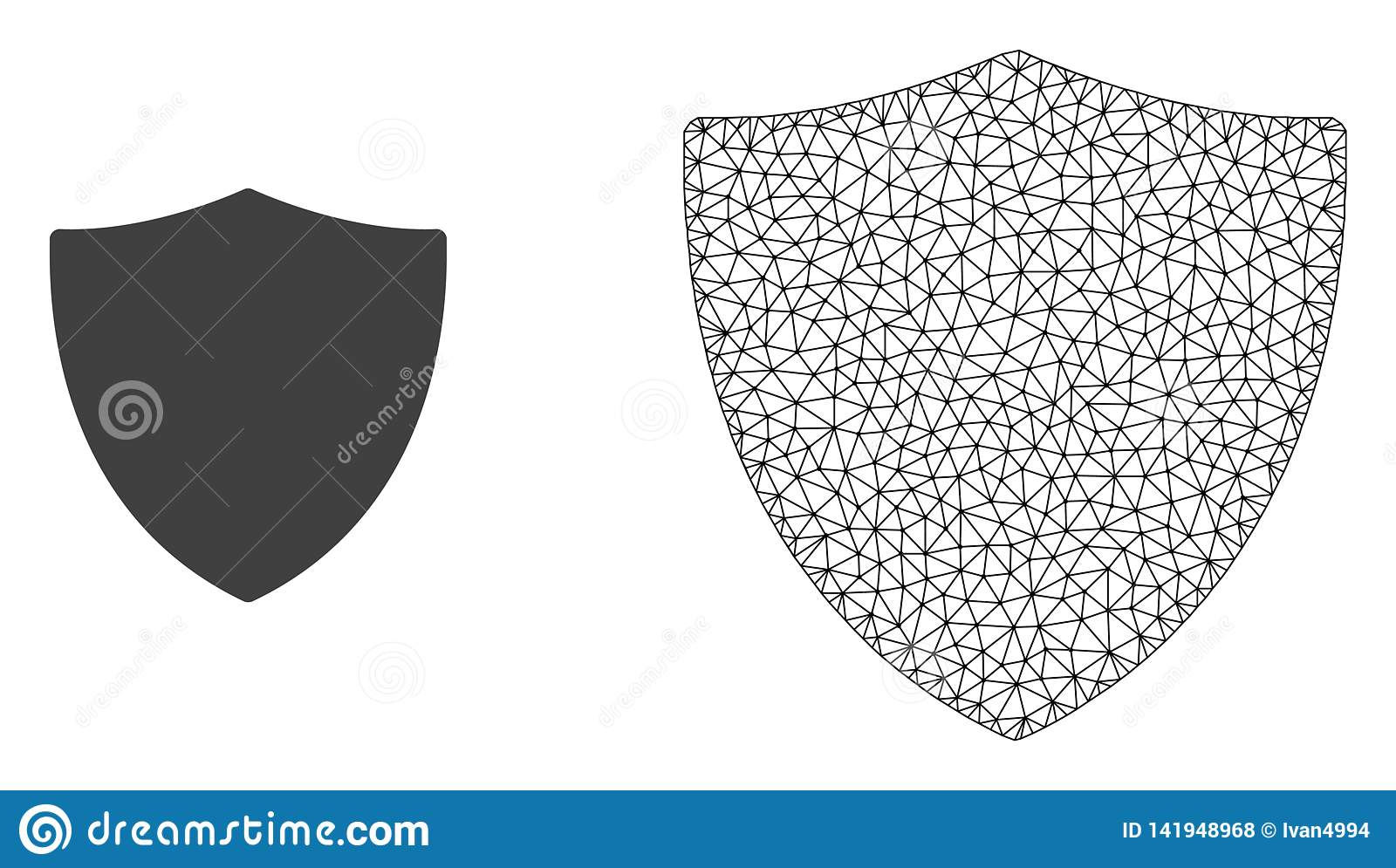 Vector Network Mesh Protection Shiled and Flat Icon