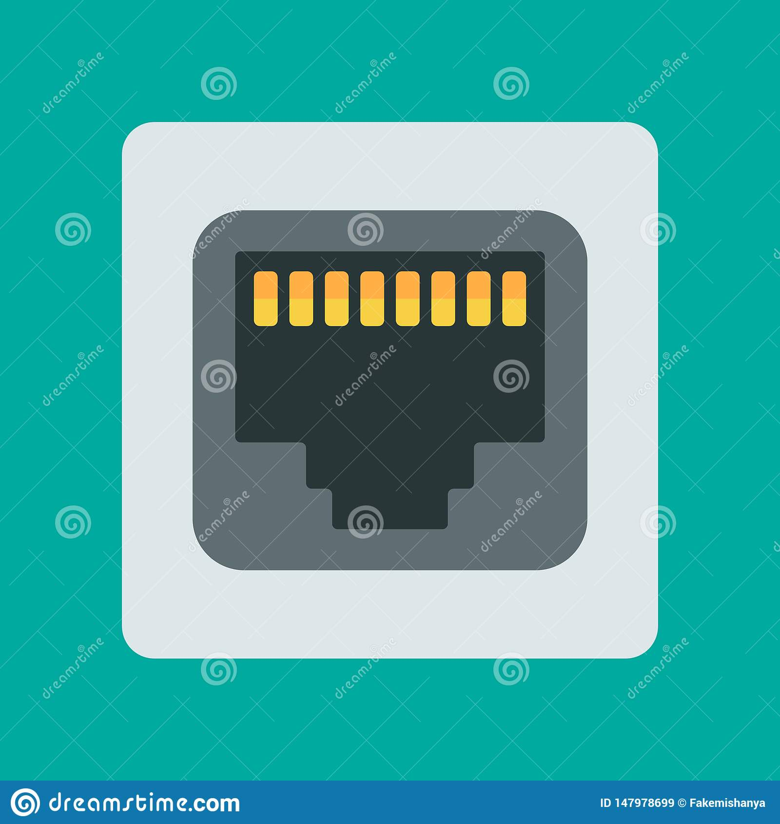 Vector network socket icon. Vector illustration.