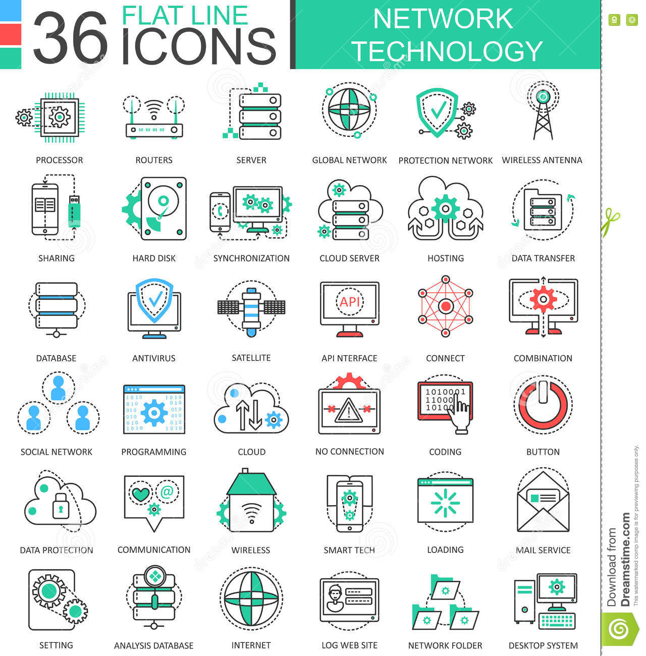 Modern colors web design - Vector Network Technology Modern Color Flat Line Outline Icons For Apps And Web Design