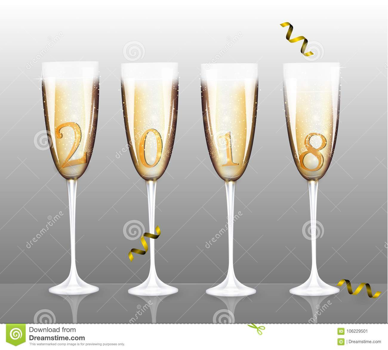 vector new year banner with four different champagne glasses for christmas design template