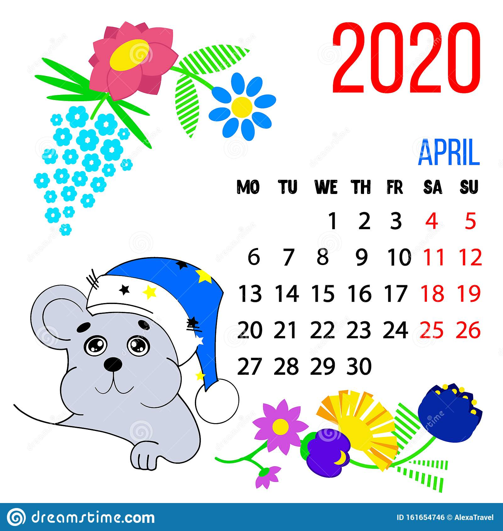Vector 2020 New Year Calendar Of April Month For Kids With Cute