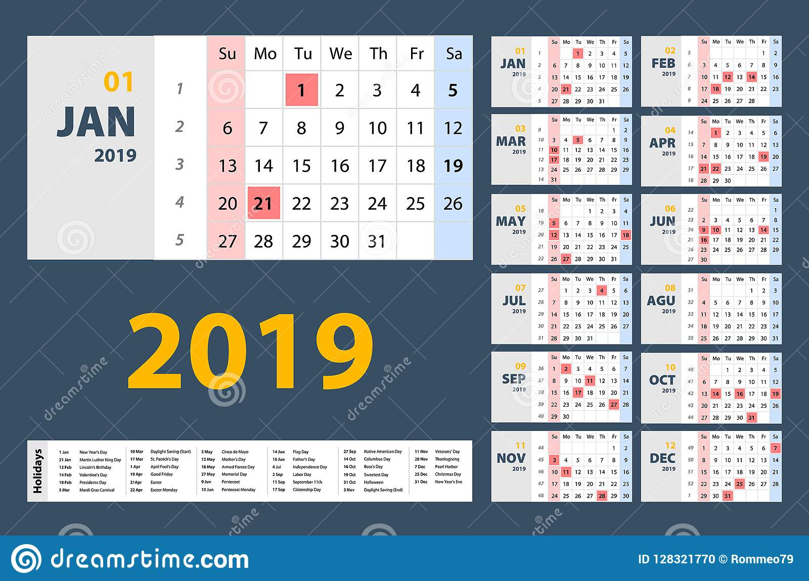 vector of 2019 new year calendar in clean minimal table simple style holiday event planner
