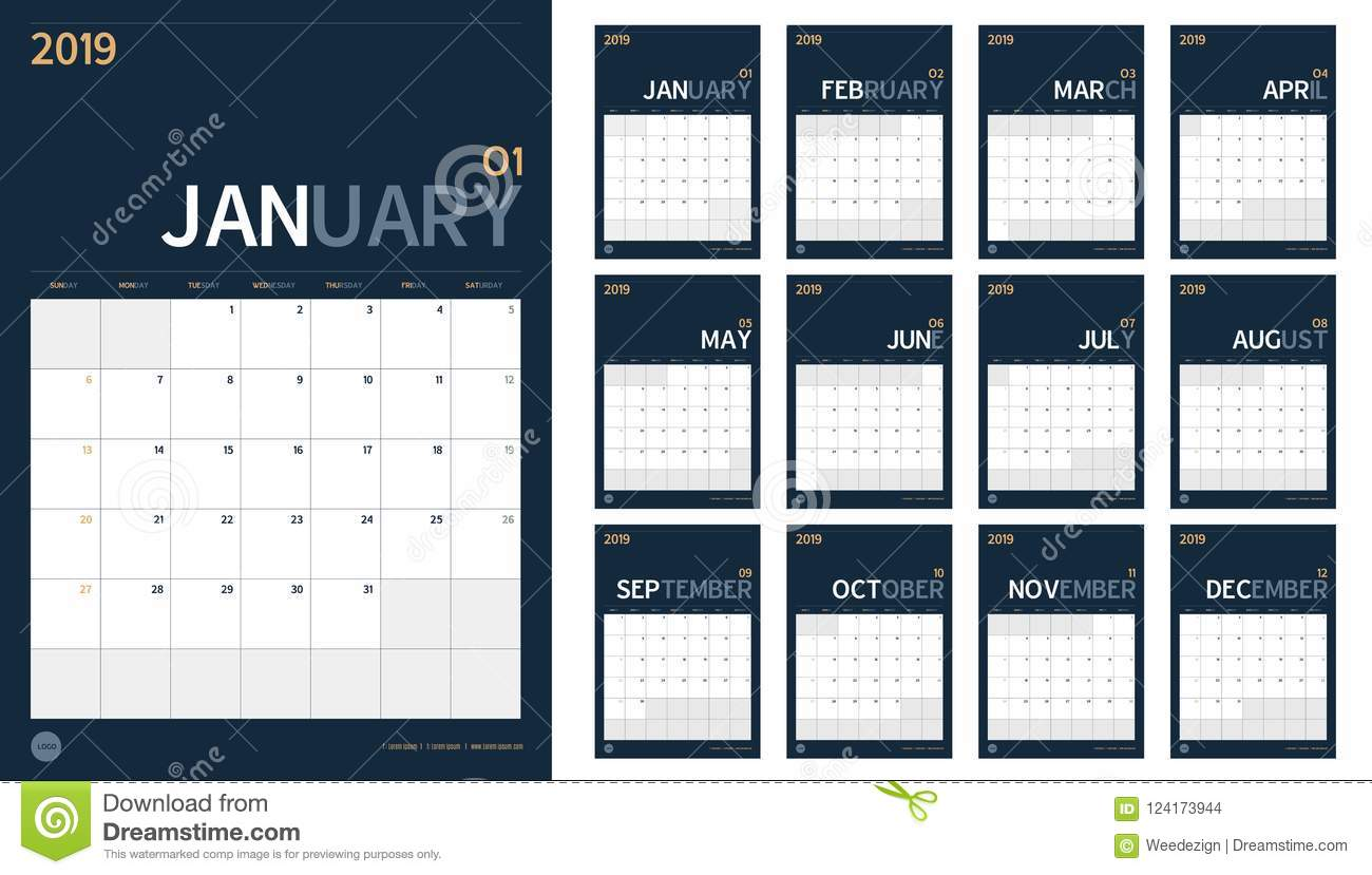 Vector Of 2019 New Year Calendar Set In Clean Minimal Table