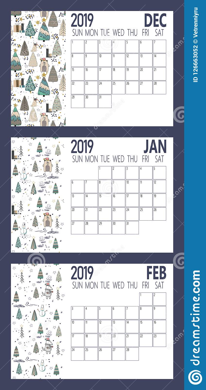download vector of 2019 new year calendar sheet with forest a4 size stock vector illustration