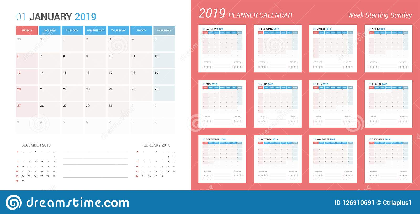 vector of 2019 new year calendar simple planner design week starts