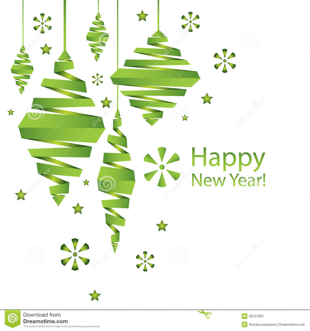 Vector New Year Card With Christmas Decorations Stock ...