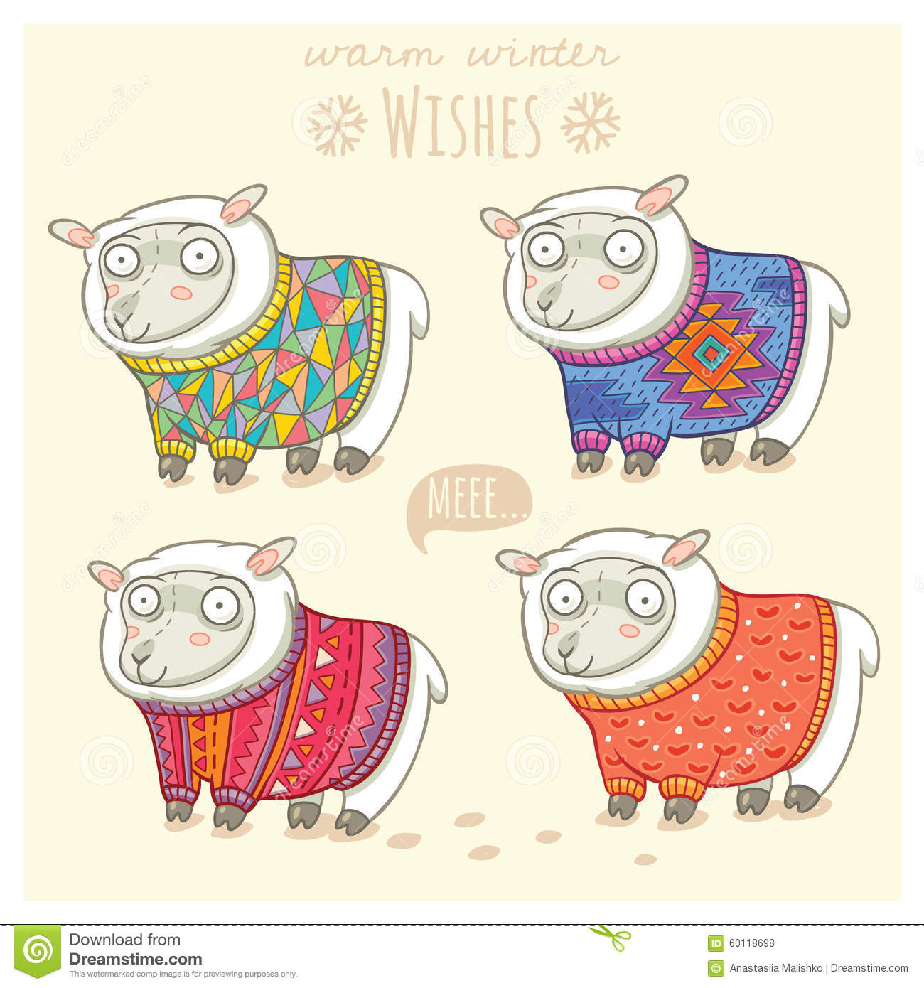 2f4d18f1a389cb Vector New Year Card With Cute Sheep In Knitted Sweaters Stock ...