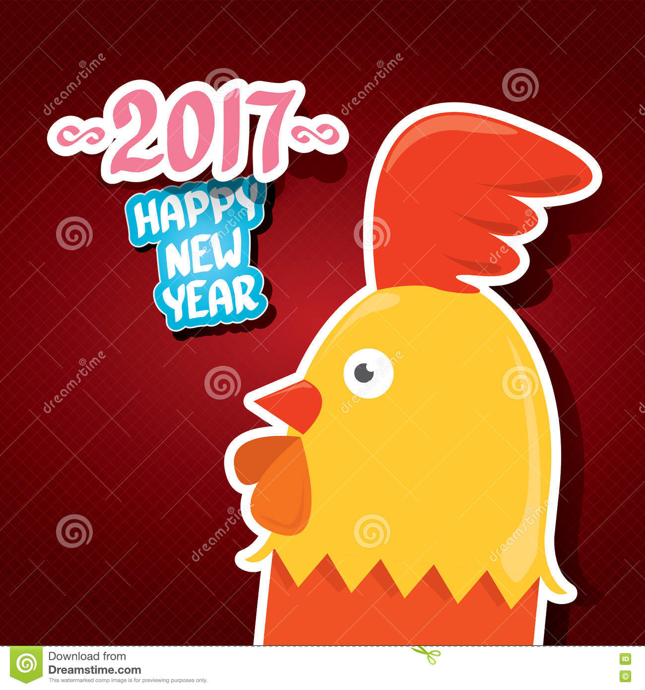 New year 2017 greeting pictures year of rooster happy chinese new year - Vector New Year 2017 With Cartoon Funny Rooster Happy Chinese