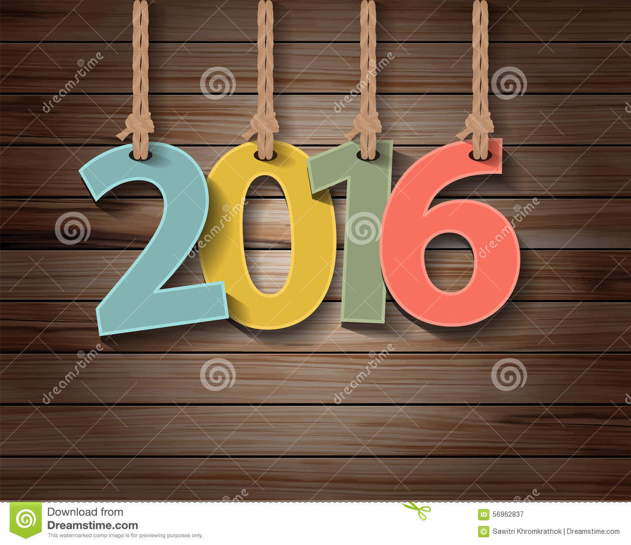 Vector new year 2016 paper greeting card on wood texture