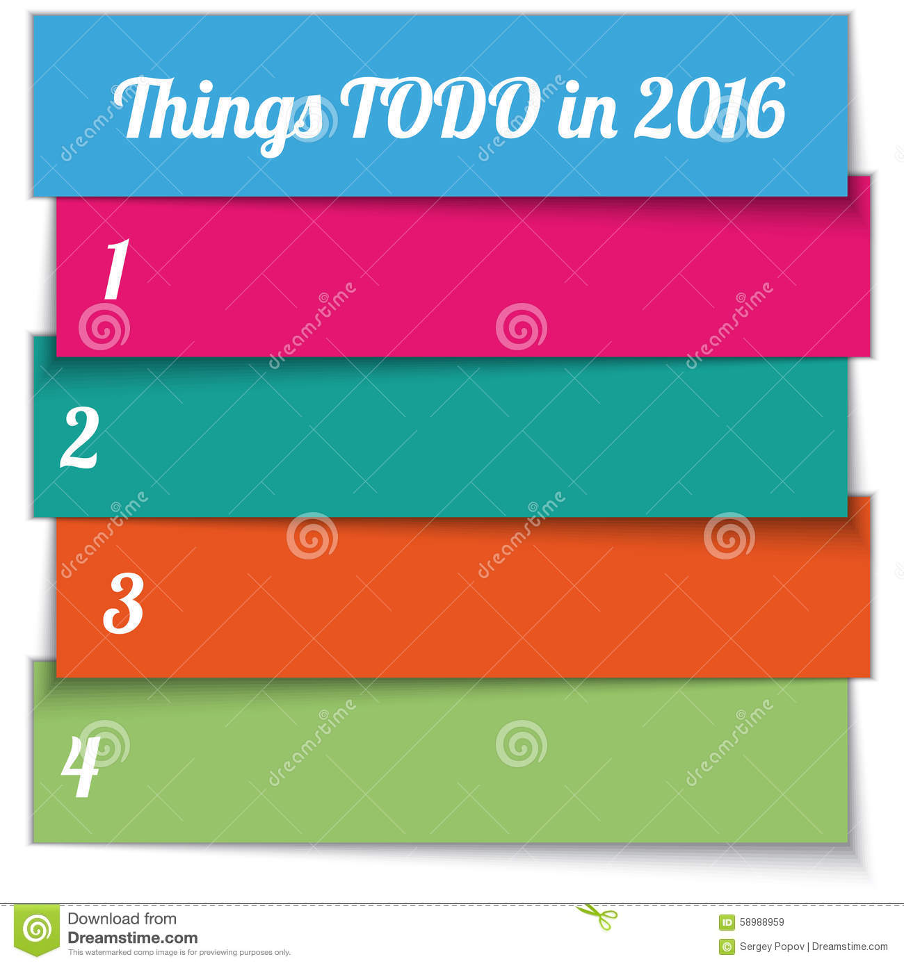 vector new year resolution multi color list