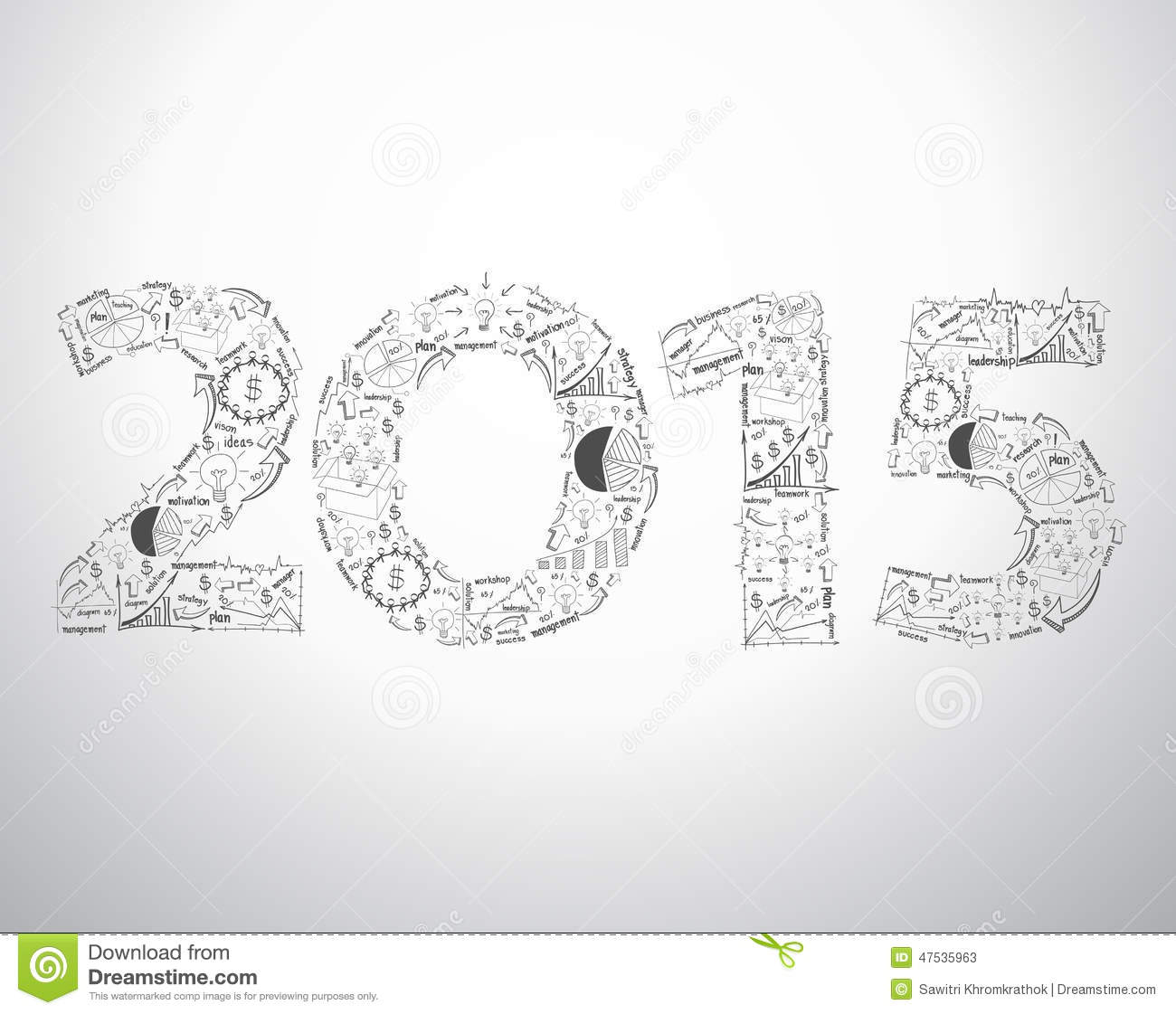 vector new year 2015 text design with creative drawing