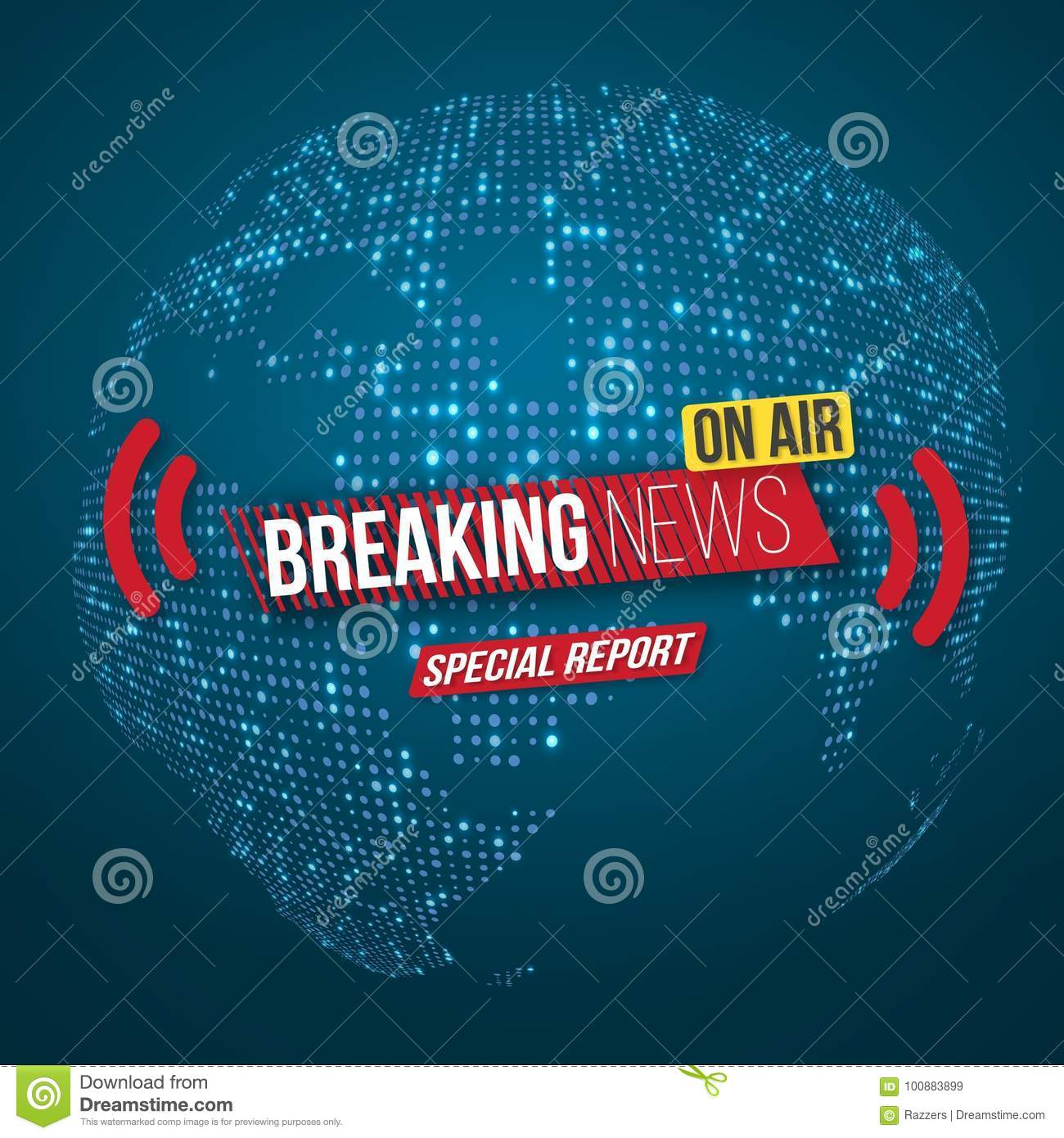 Vector News Banner Template  Breaking News Design Layout On Bright