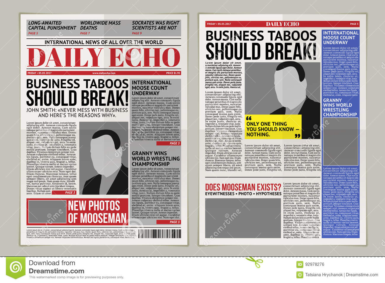 Vector Daily Newspaper Template, Tabloid, Layout Posting Reportage