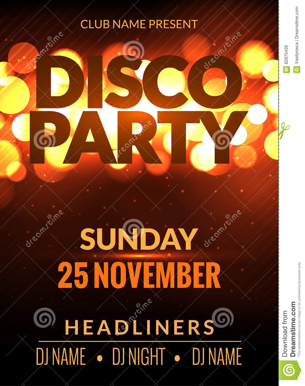 vector night party poster template with shining golden lights