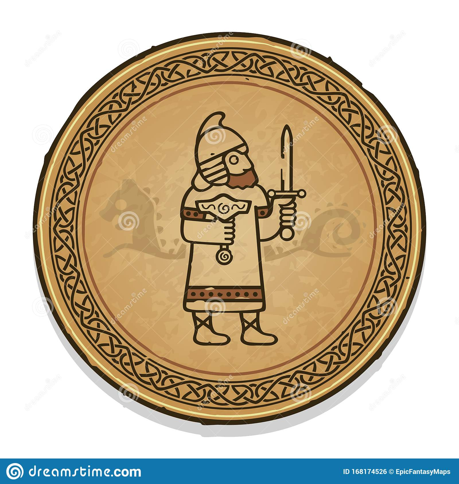 Vector Round Norse Warrior Ornament With Viking Knot Stock Vector Illustration Of History Medieval 168174526