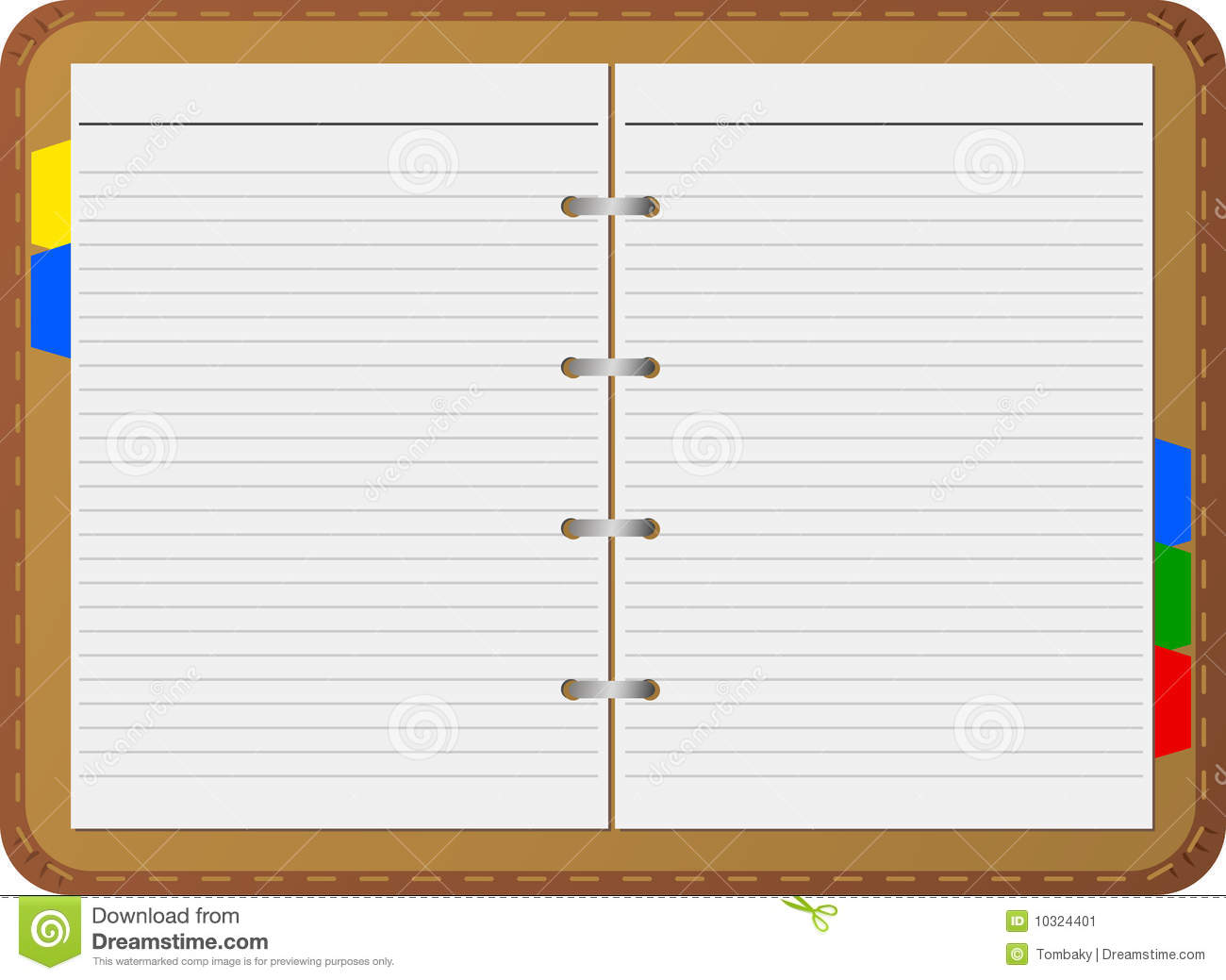 Open notepad, vector, detailed, isolated on white.