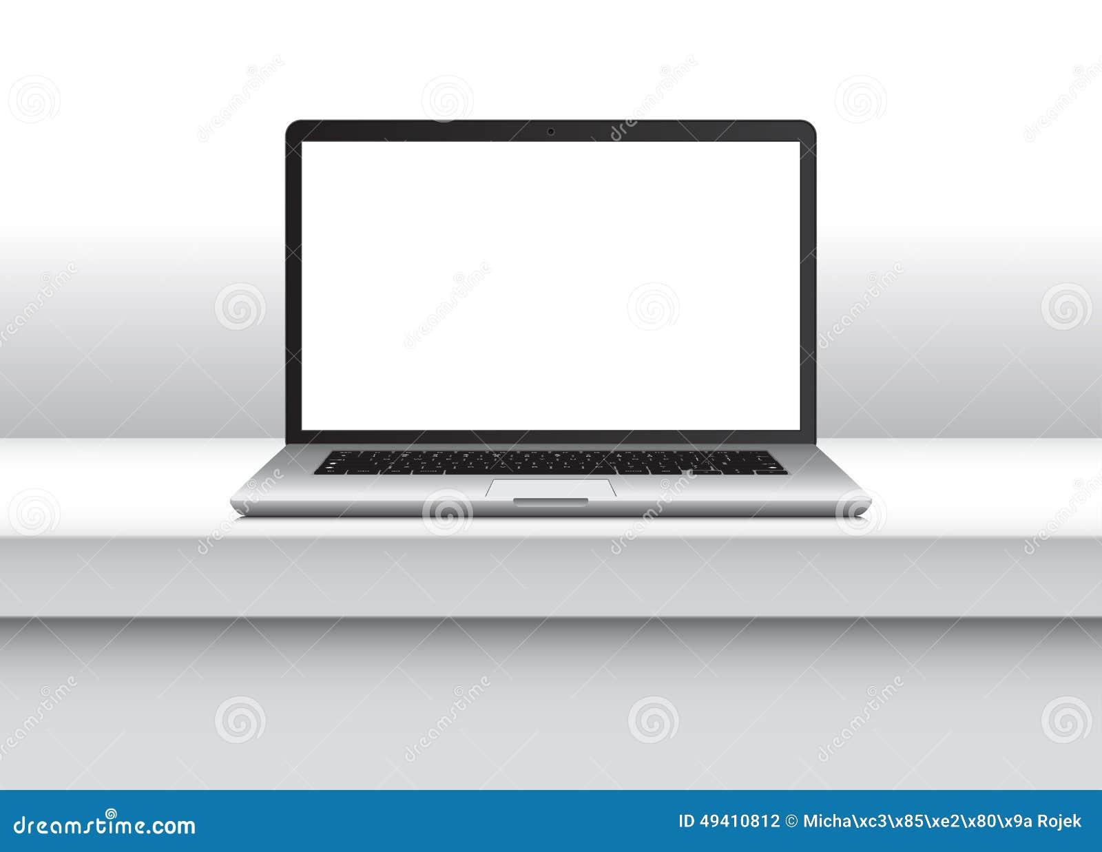 Download Vector Notizbuch, Mit Leerem Bildschirm Auf Schreibtisch Im Büroinnenraum Vektor Abbildung - Illustration von büro, innen: 49410812